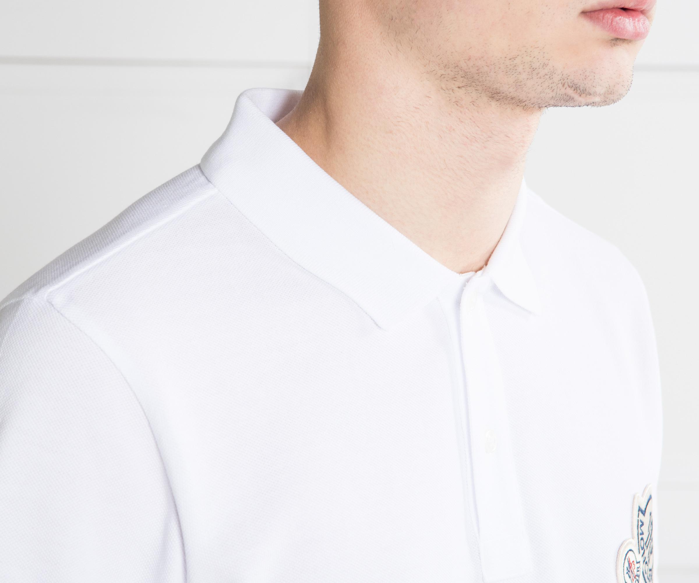9a8af6ce0413c Moncler - Double Logo 2-button Polo White for Men - Lyst. View fullscreen