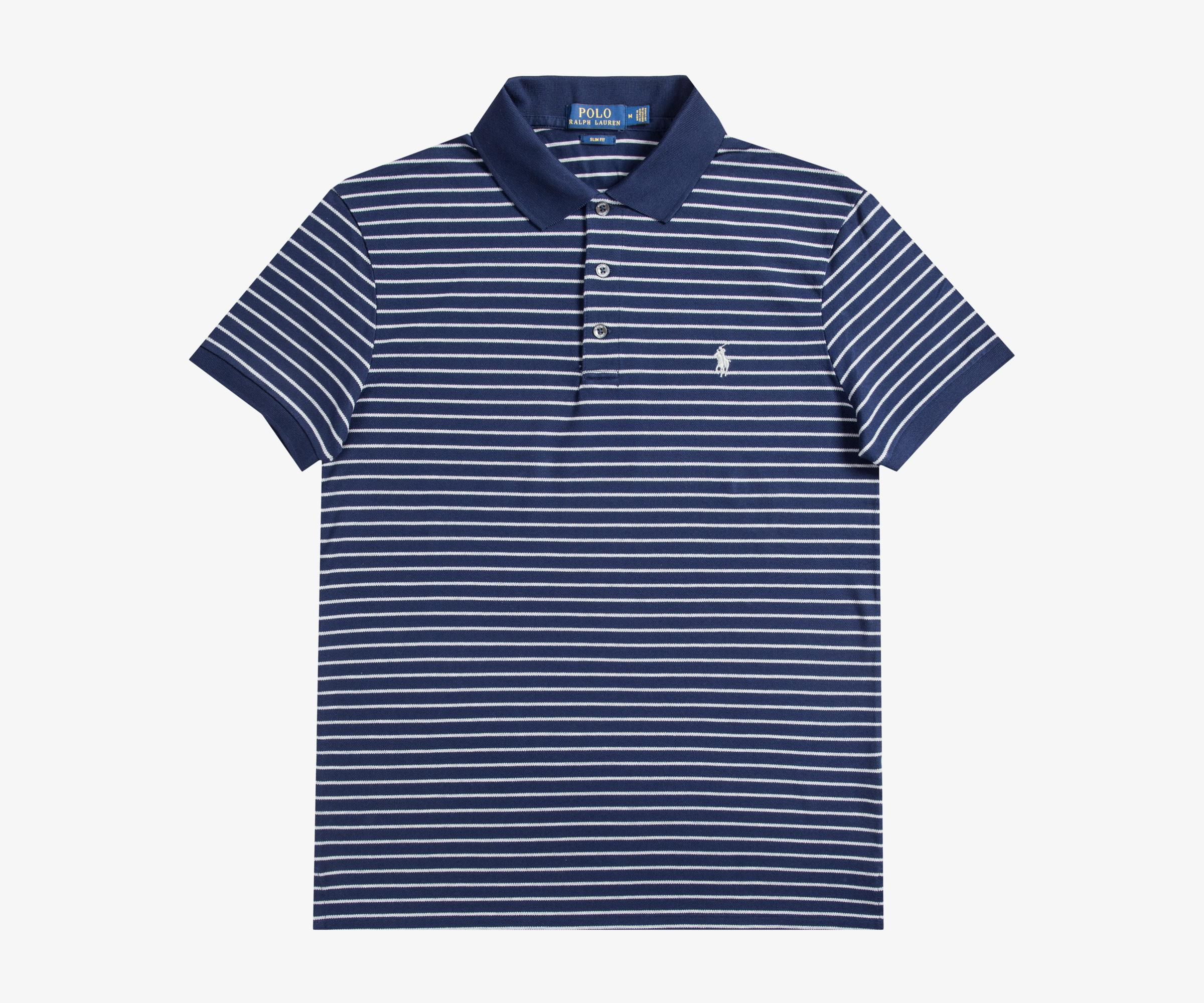 Lyst - Ralph Lauren Slim Fit Striped Polo French Navy andover ... b87b10bd9