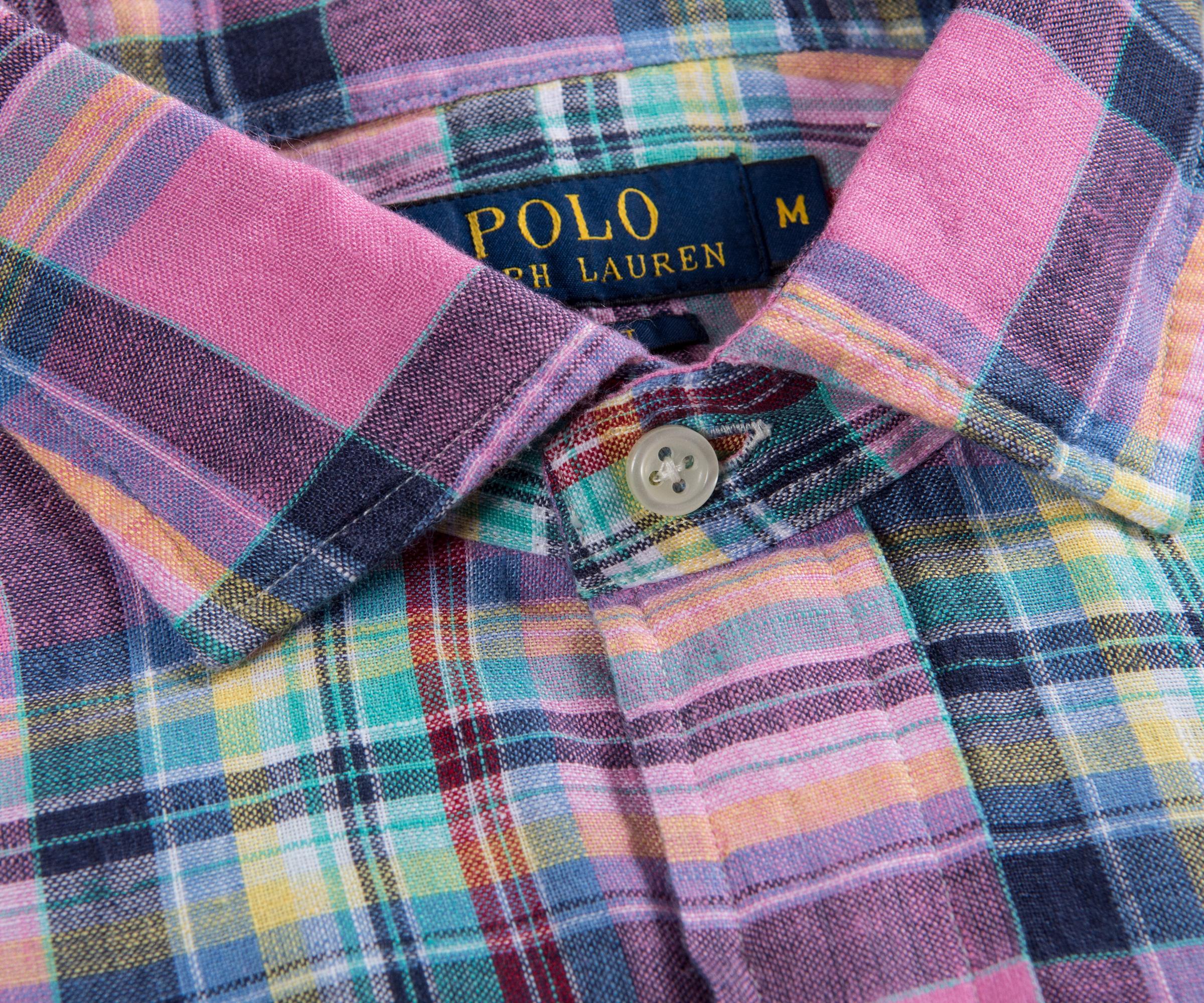 e8021506 Lyst - Ralph Lauren Linen Check Shirt Pink/navy Multi in Pink for Men