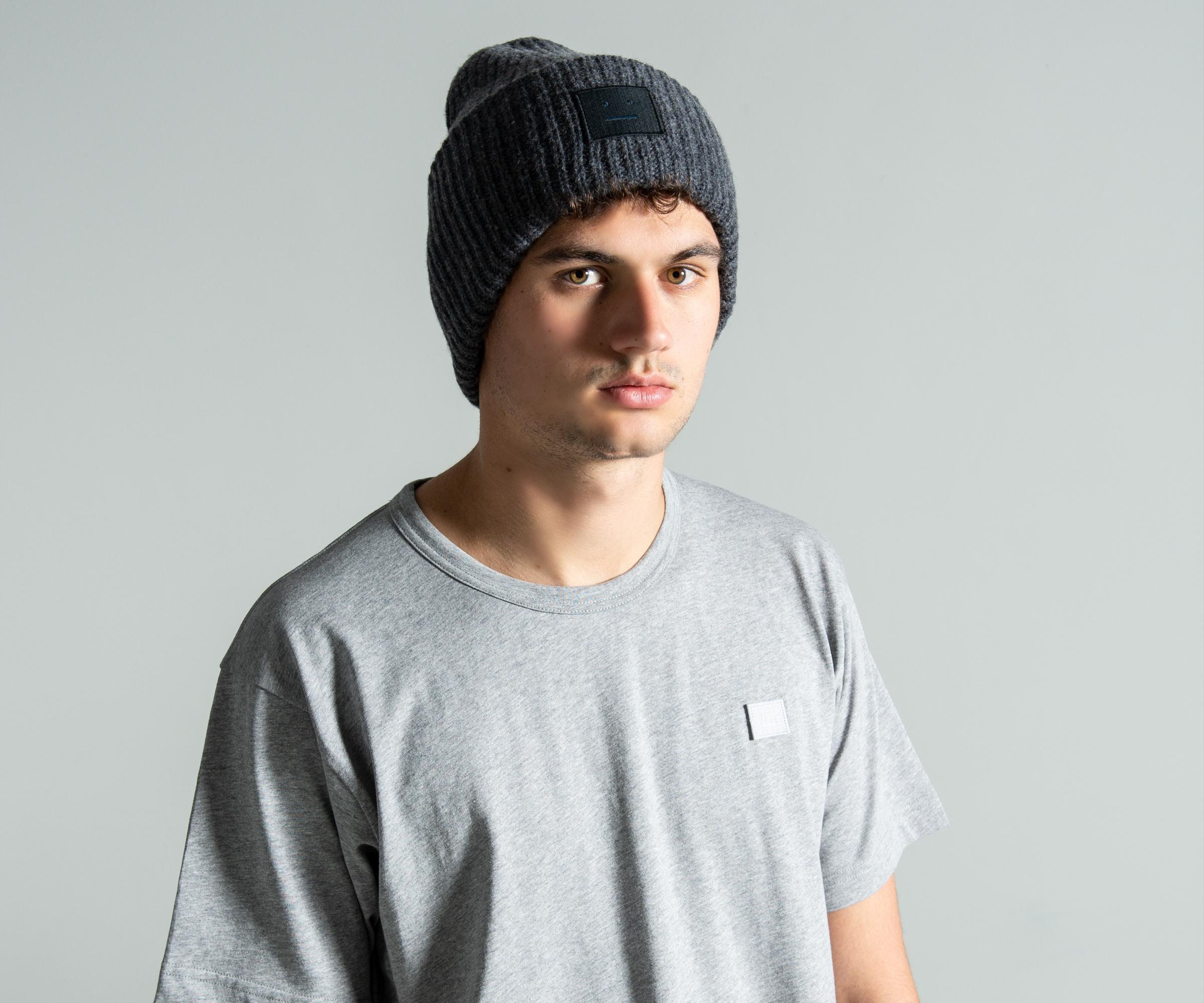 9da11efae05 Lyst - Acne Studios  pansy N Face  Beanie Charcoal Melange in Gray ...