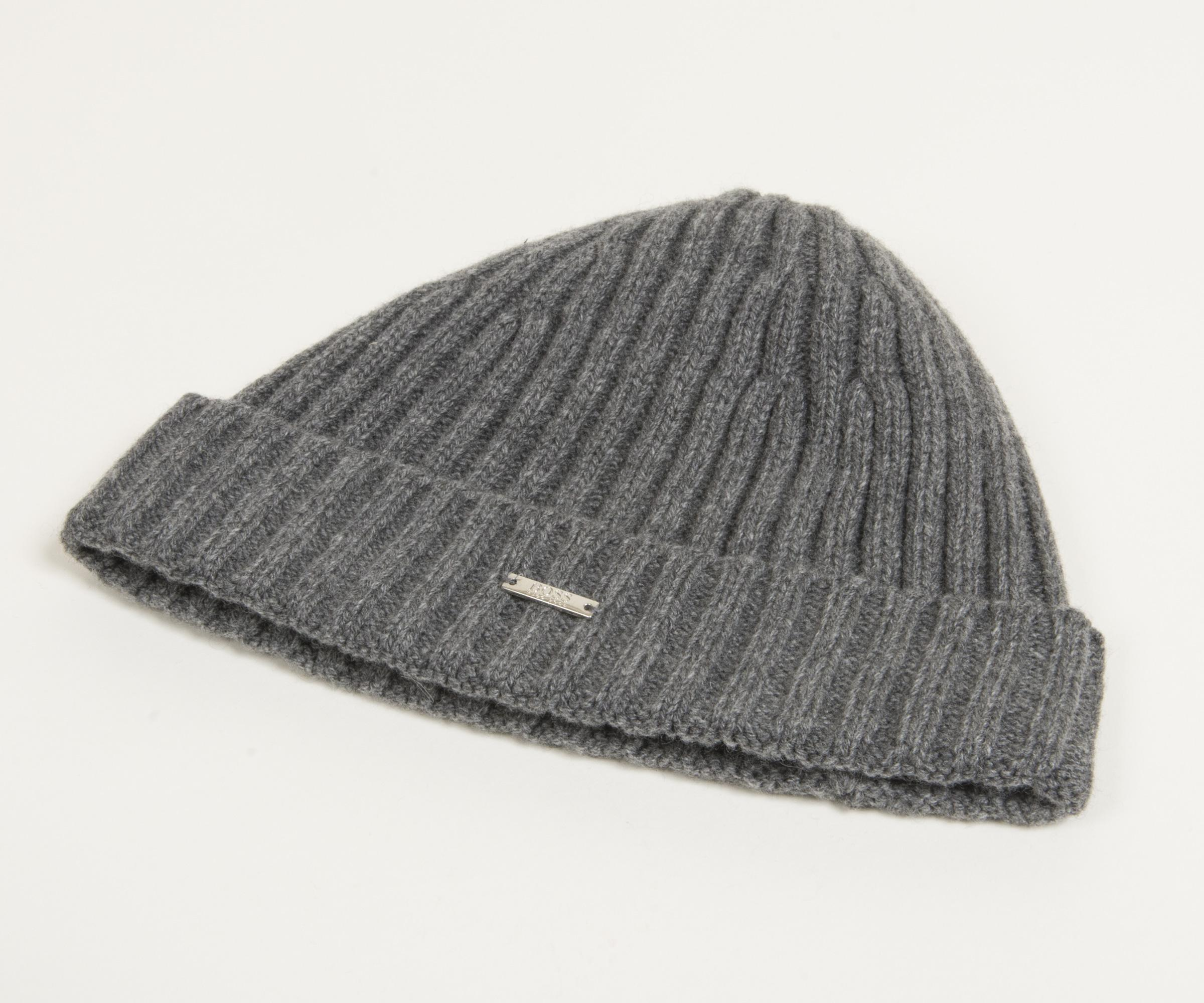 c0071c7bb59 Lyst - BOSS  t-benzo  Cashmere Classic Ribbed Beanie Hat Grey in ...