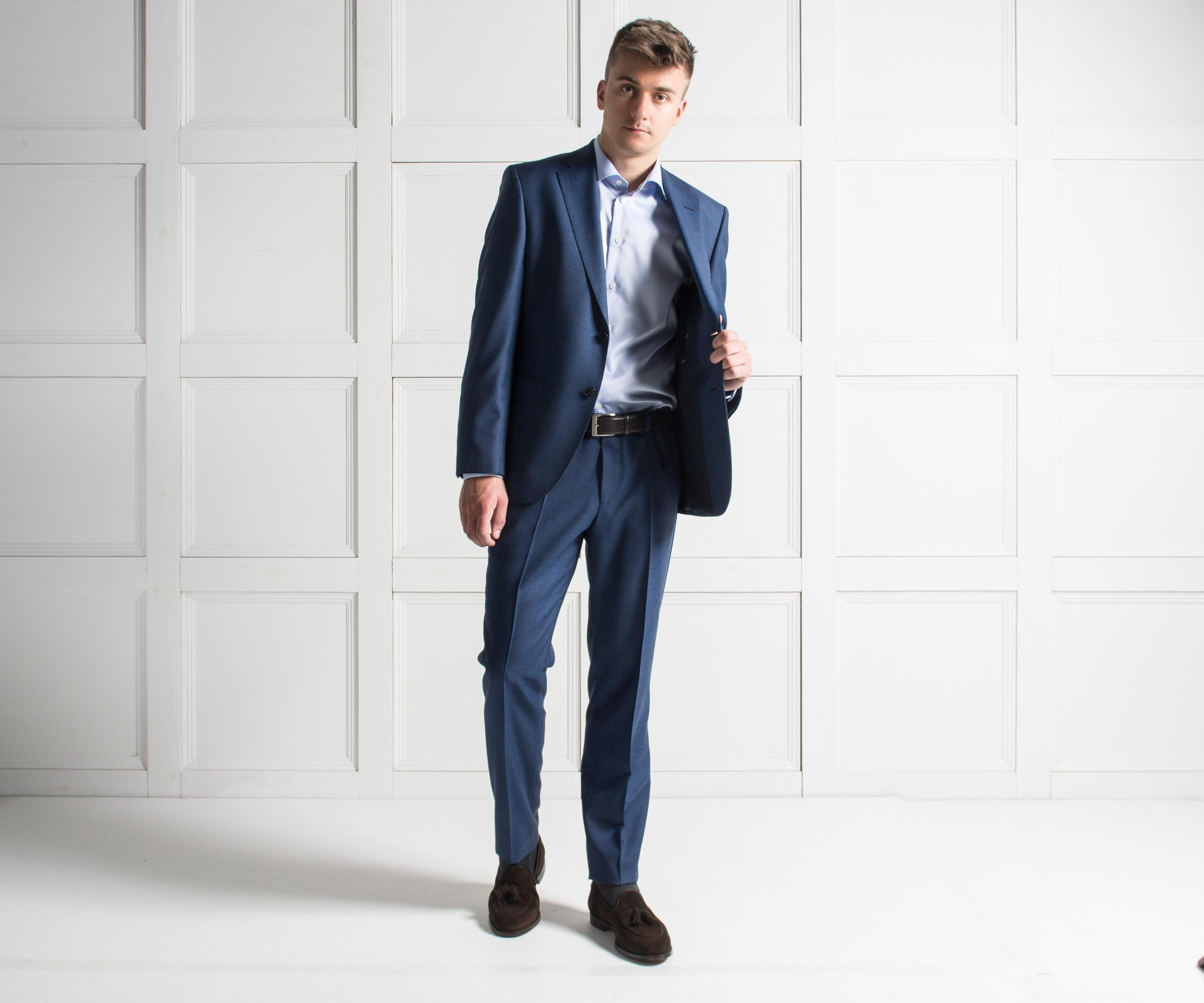 bf2a12a6a BOSS 'johnstons5/lenon1' Melange Virgin Wool Suit Dark Blue in Blue ...