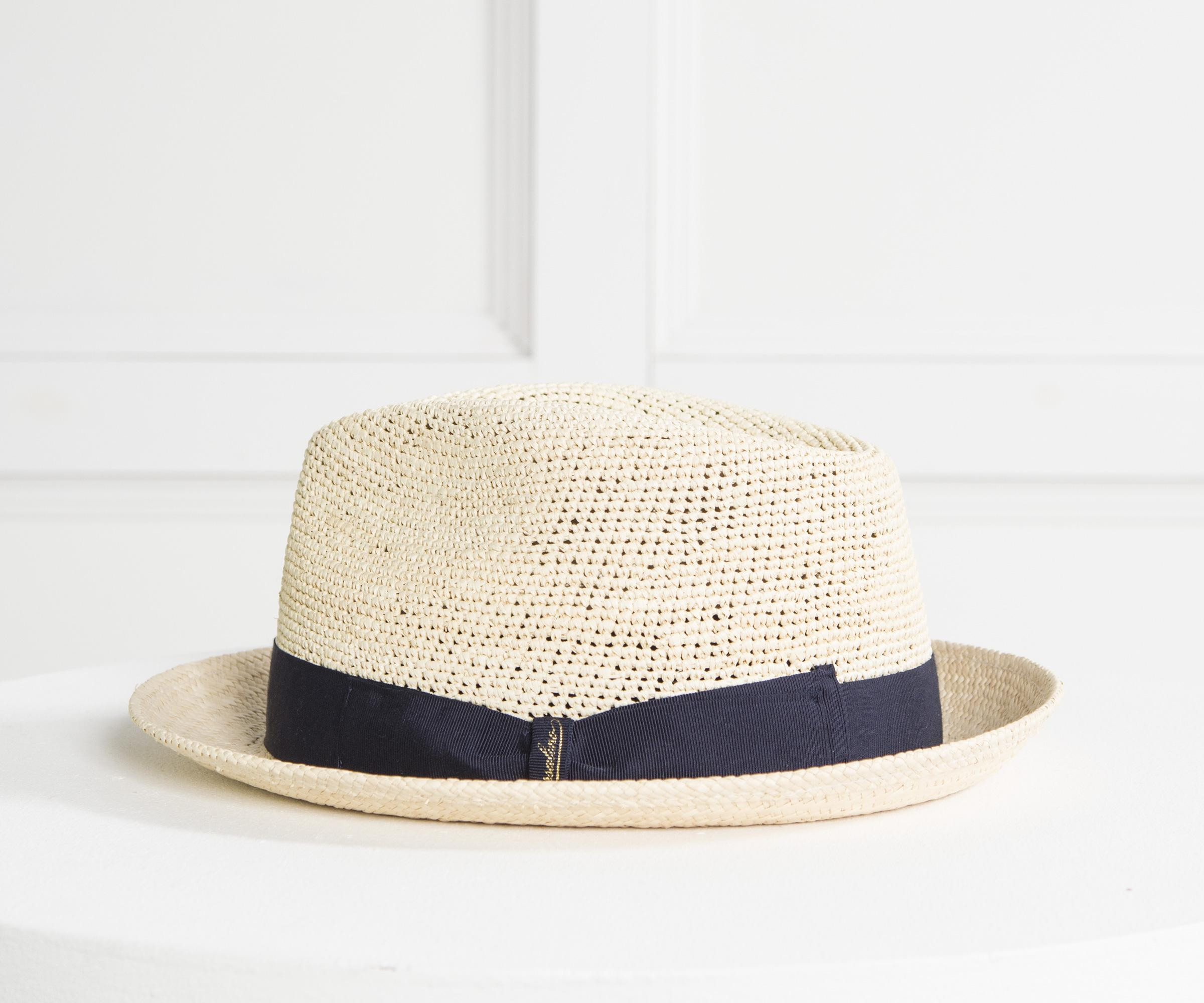 Borsalino Made In Italy Straw Trilby With Navy Band in Blue for Men ... de52173aeabc