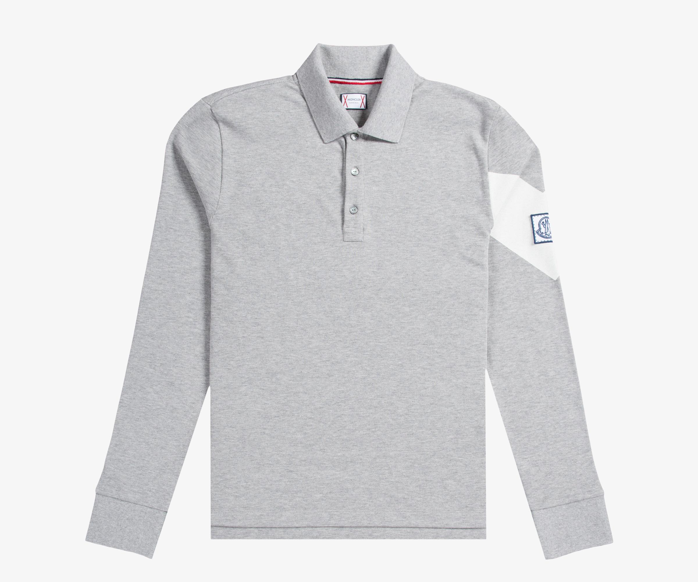1c082529f122 Lyst - Moncler Gamme Bleu Long Sleeved Pique Polo With Arm Detail ...
