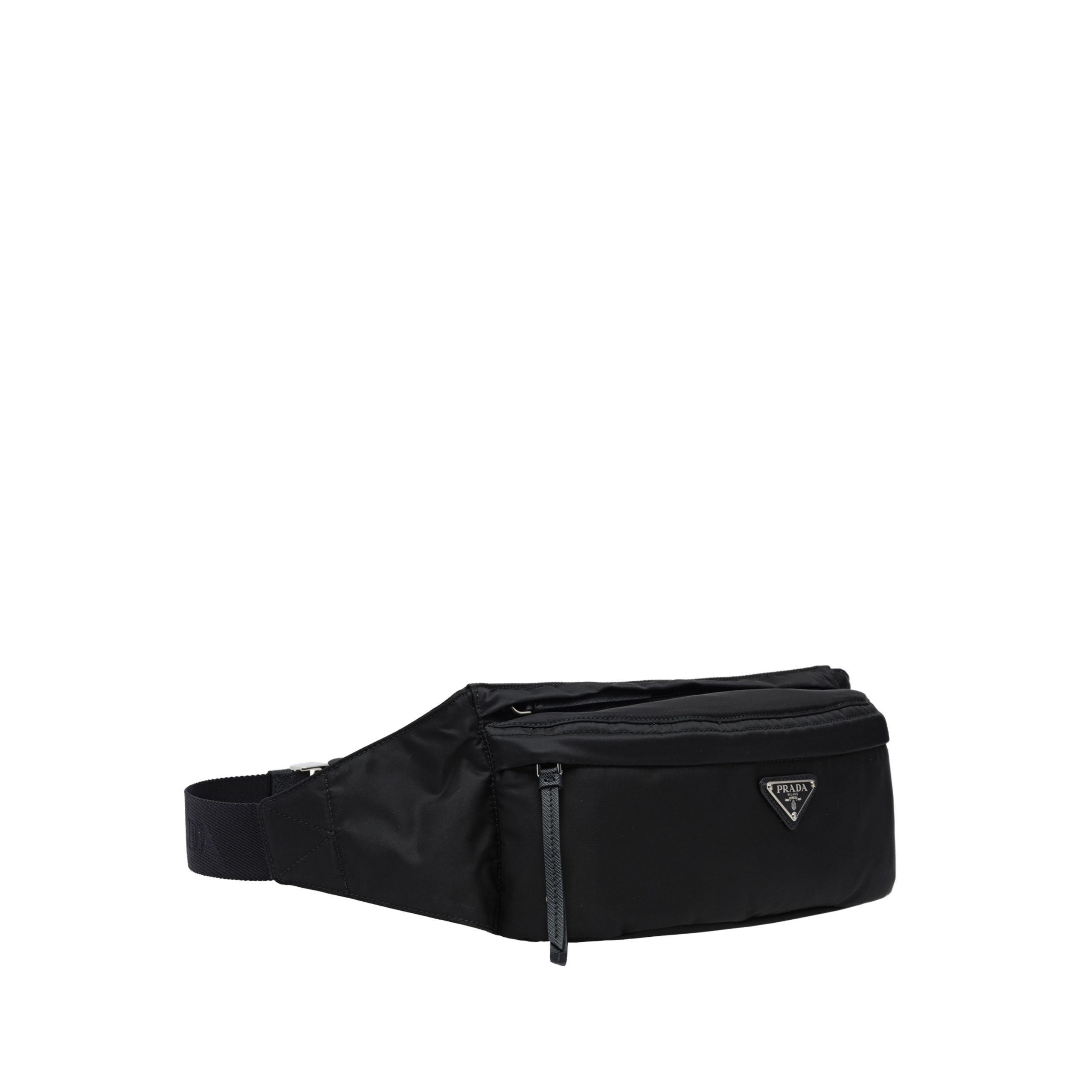e6238181c254 Prada - Black Fabric And Leather Belt Bag - Lyst. View fullscreen