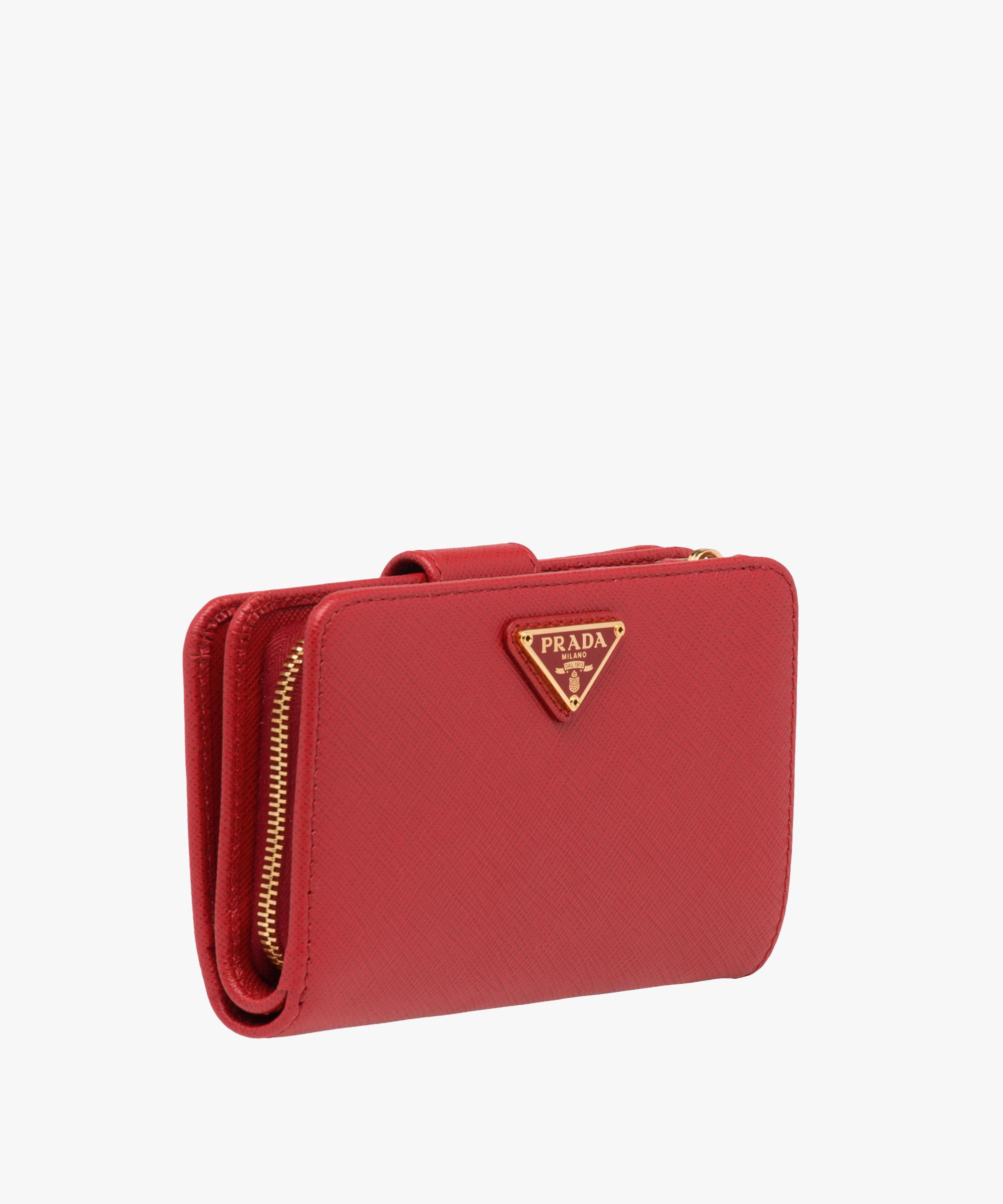 ac321c29c07360 ... new zealand lyst prada medium saffiano leather wallet in red a0ff4 ed2fb