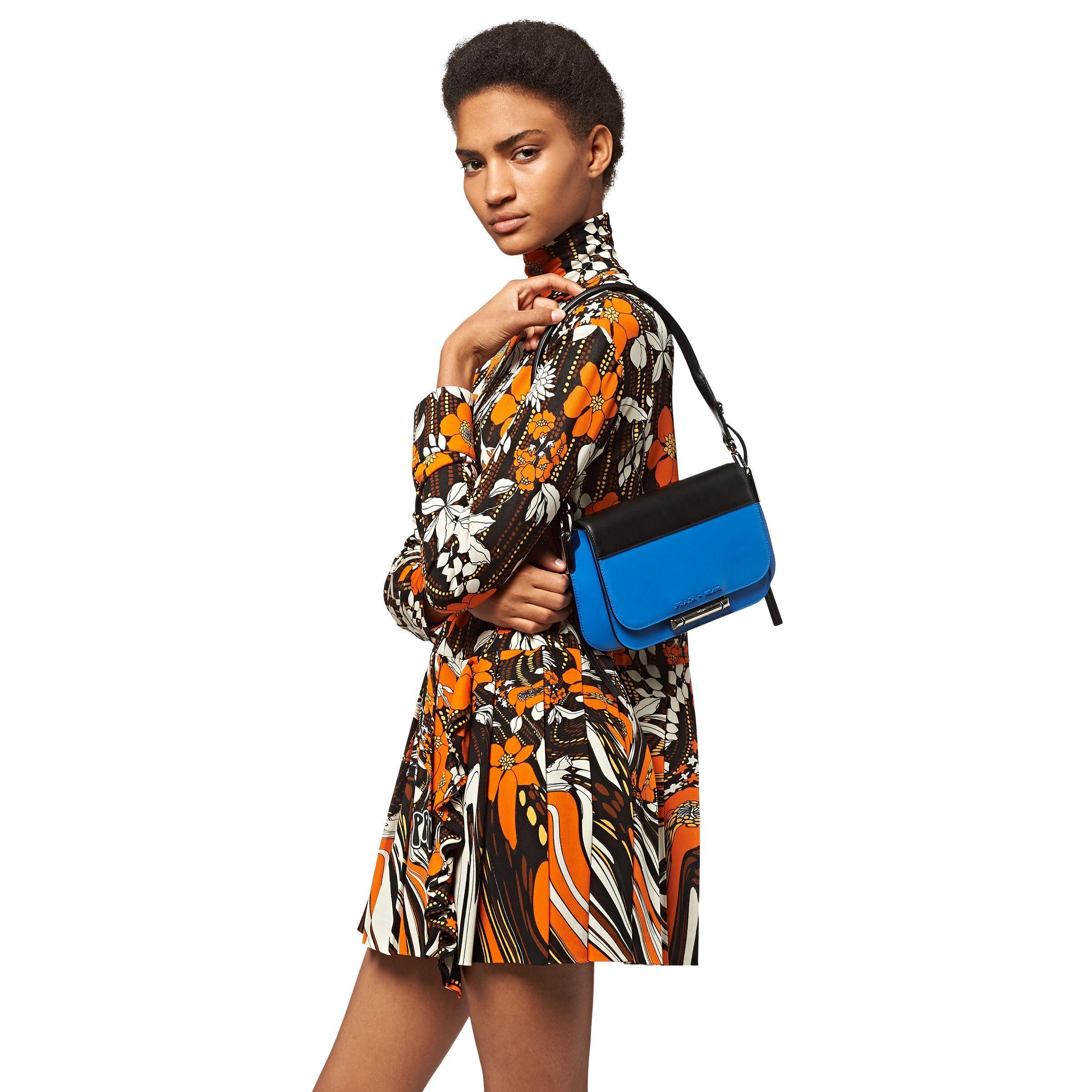 6b2525c356e4 Prada Sybille Leather Shoulder Bag in Blue - Lyst
