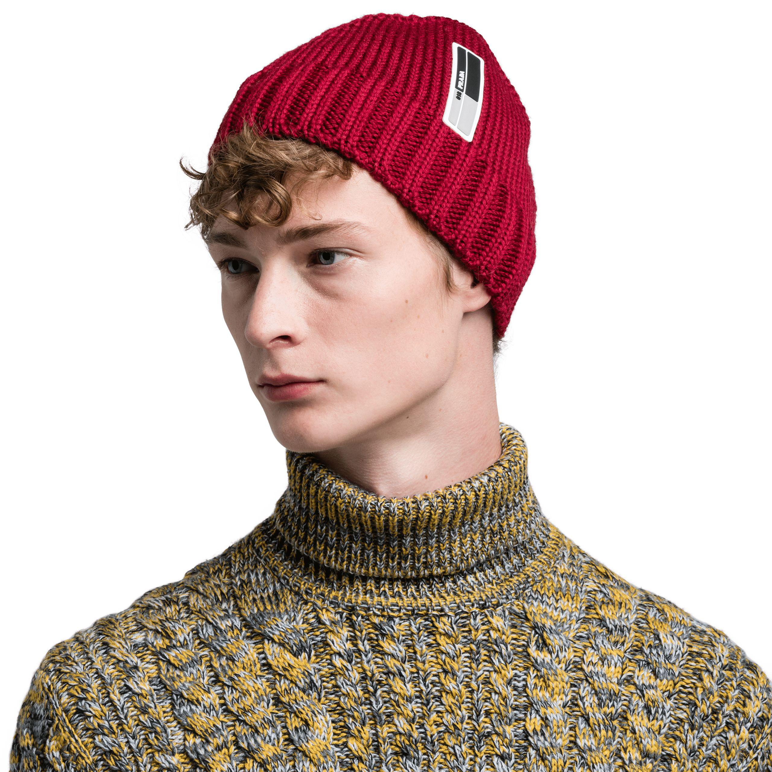 a7667c2352b Lyst - Prada Cablé Wool Hat in Green for Men