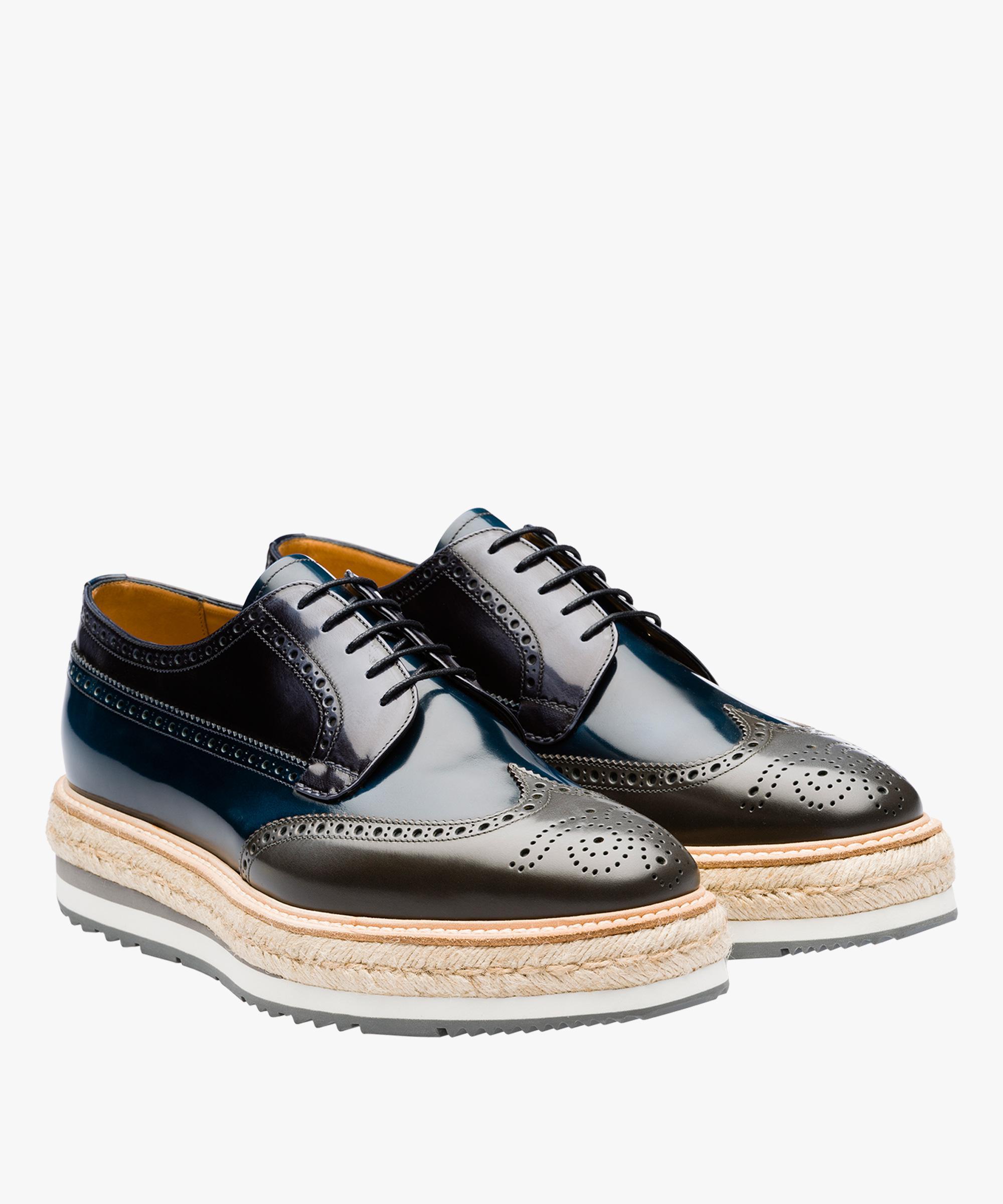5ab1b4afa73 Lyst - Prada Leather Platform Derby Shoes in Blue for Men