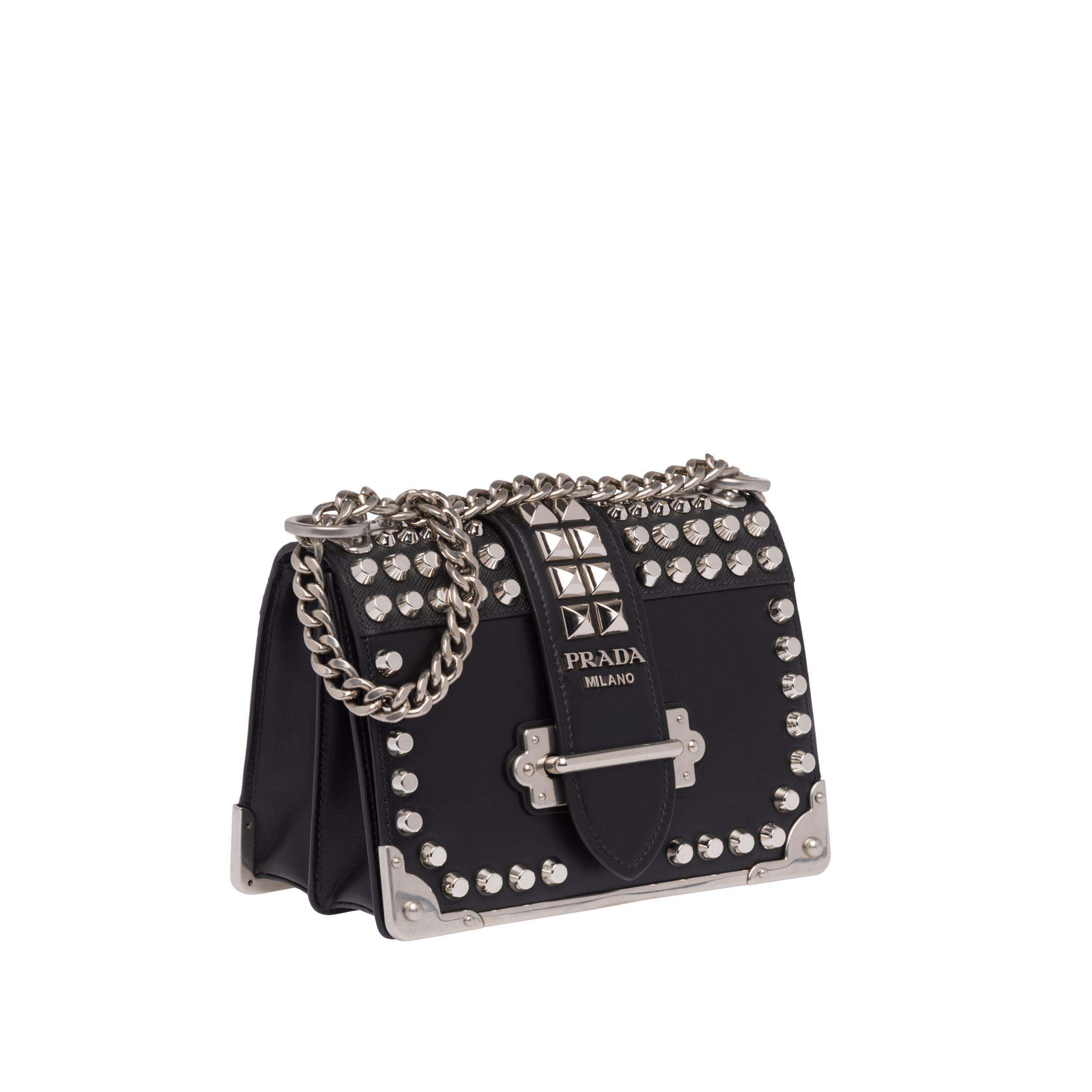 1a1347c53d Lyst - Prada Cahier Studded Leather Bag in Black