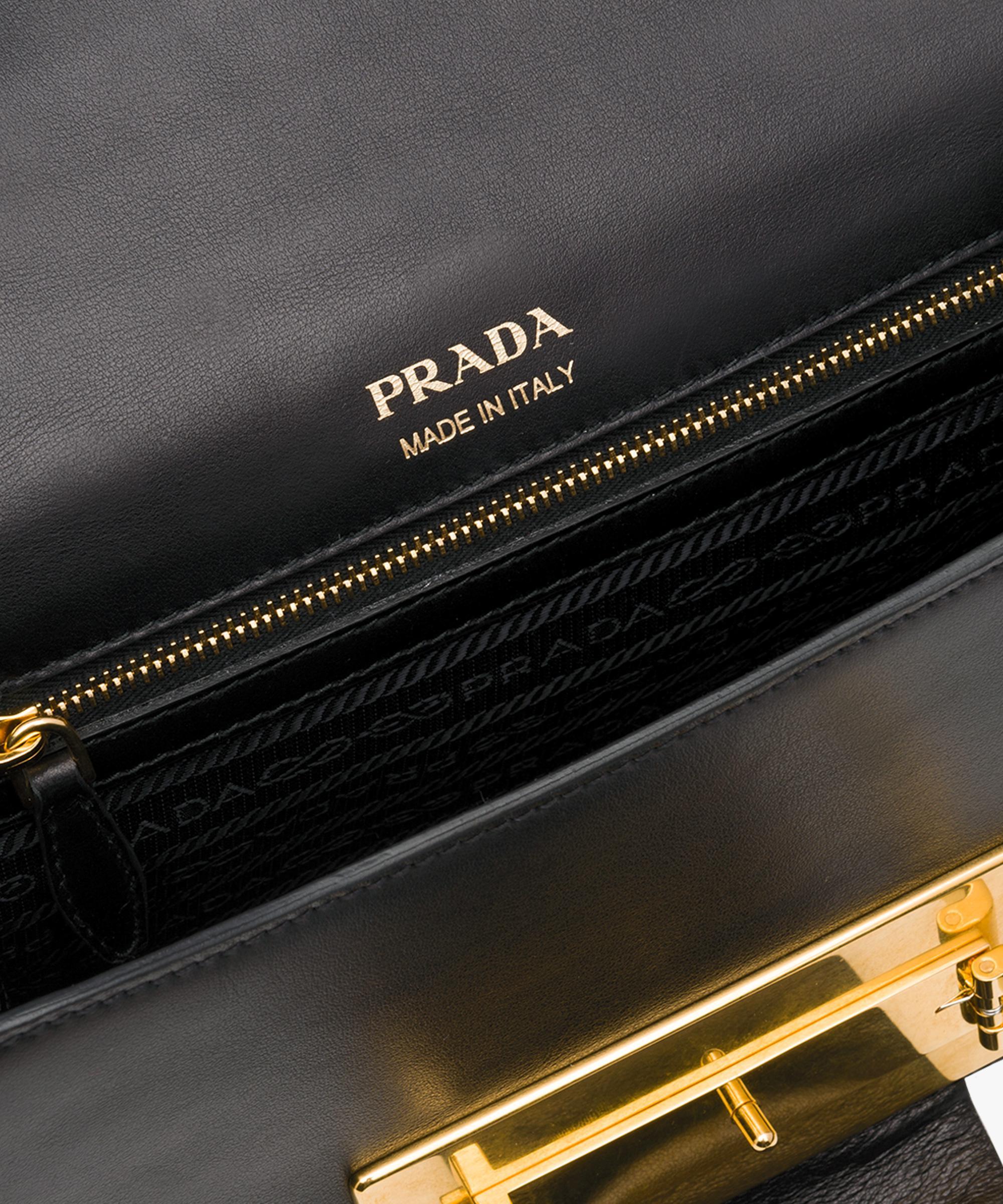 179e238cfa97c1 Lyst - Prada Metal Ribbon Leather Shoulder Bag in Pink