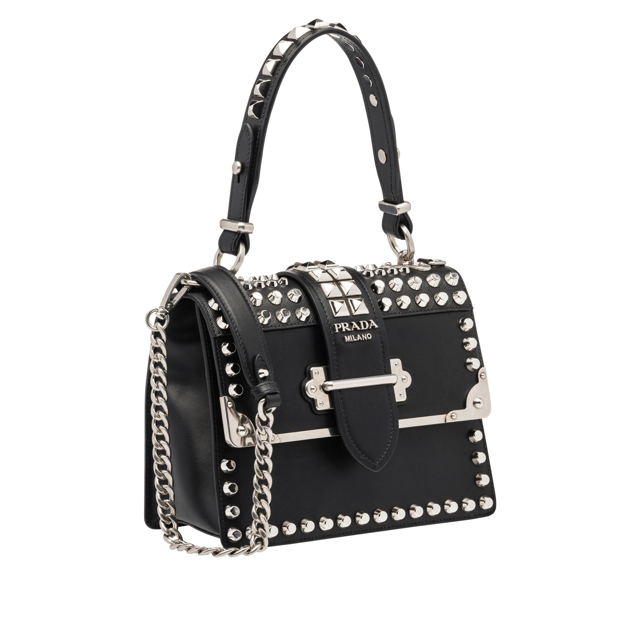 1390d669105ff9 Lyst - Prada Cahier Studded Bag in Black - Save 8.942857142857136%
