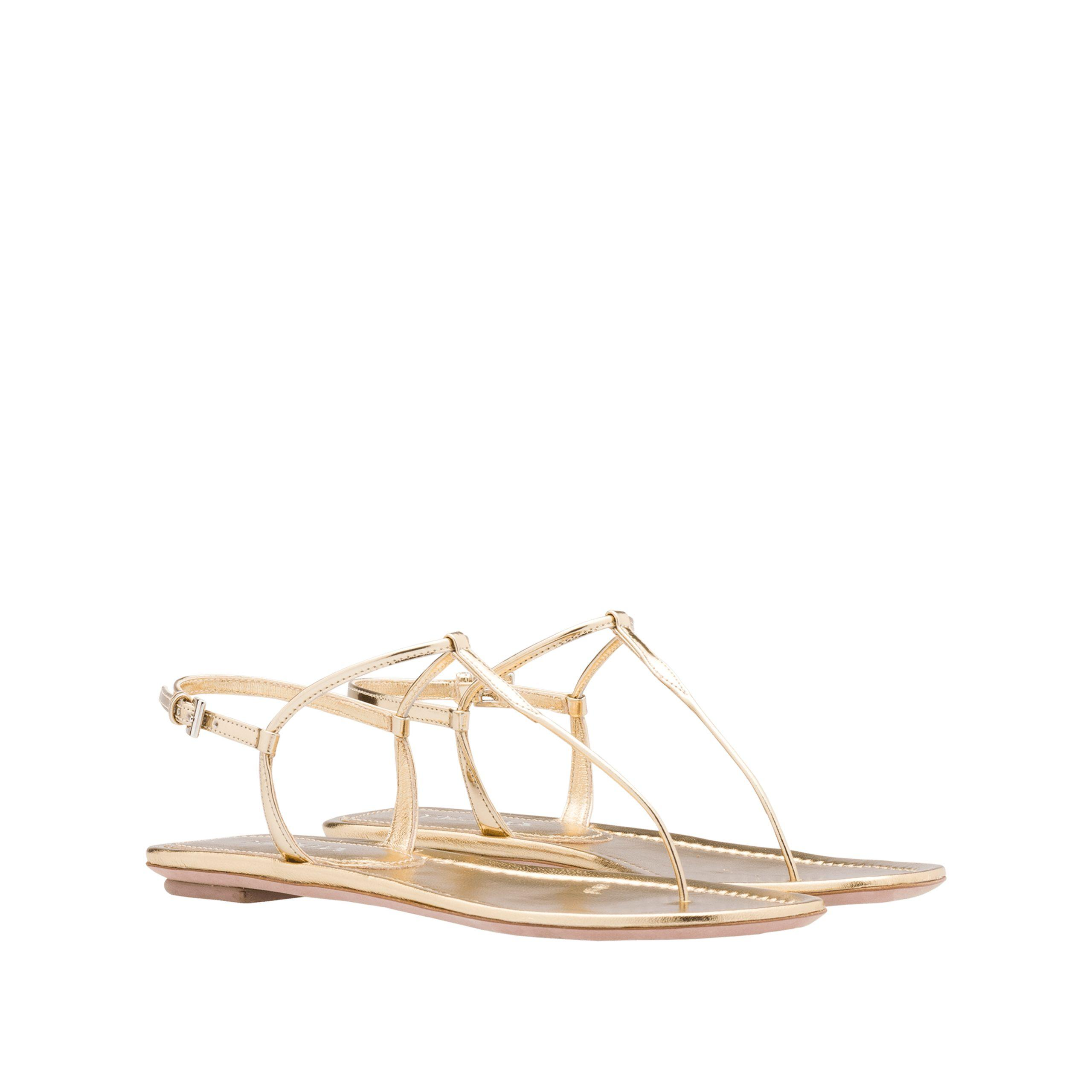 aa222ed4141 Lyst - Prada Laminated Leather Thong Sandals in Natural