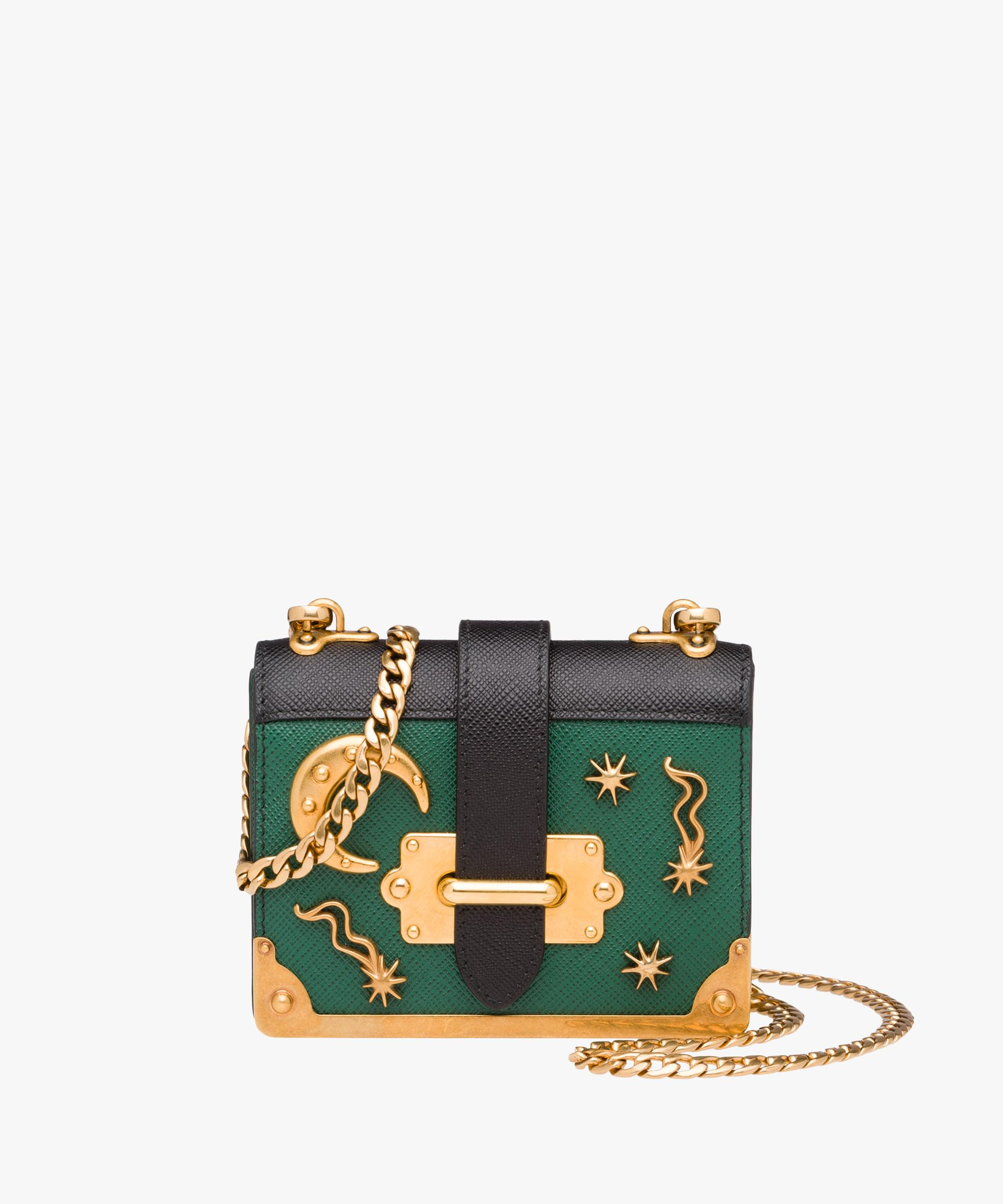 99de09da67daa Lyst - Prada Micro Cahier Saffiano Leather Bag in Green