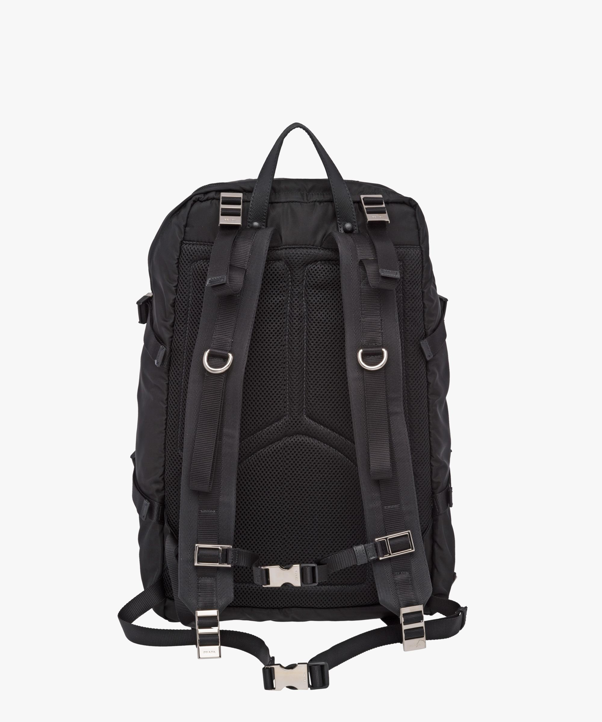 c6a1a8938440 ... sweden lyst prada technical fabric and saffiano leather backpack in  black 4f49a a825f