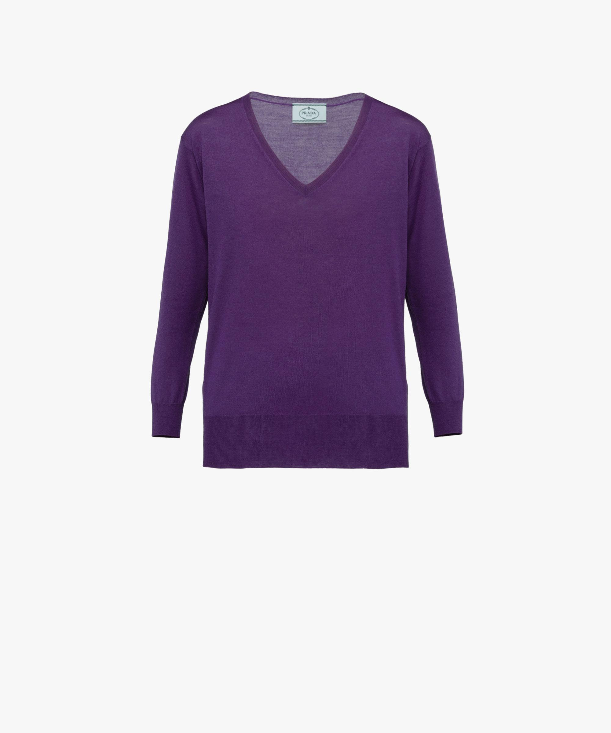 Prada Merino Wool Sweater in Purple | Lyst