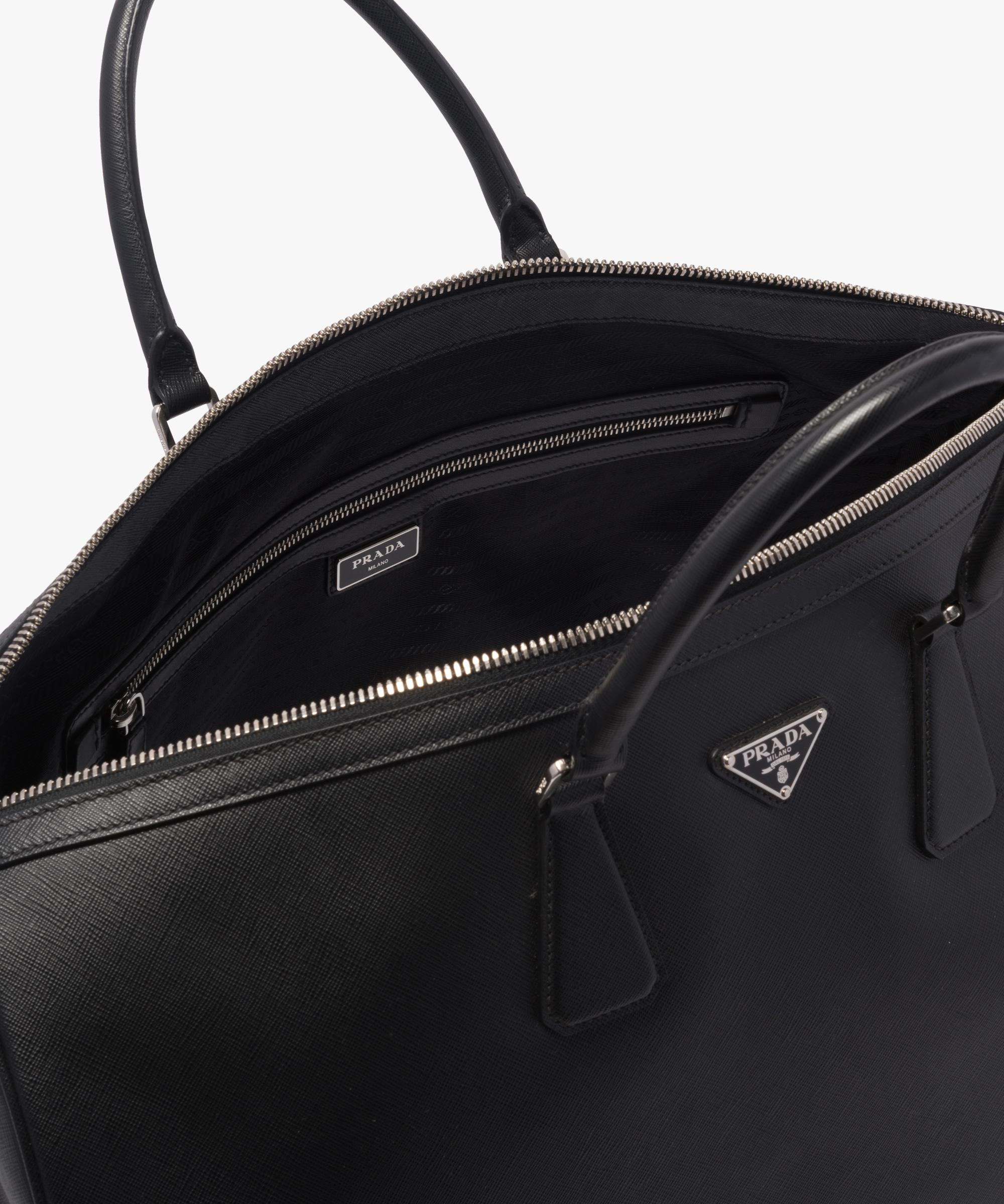 22214ccd2343 Lyst - Prada Saffiano Leather Travel Bag in Black for Men