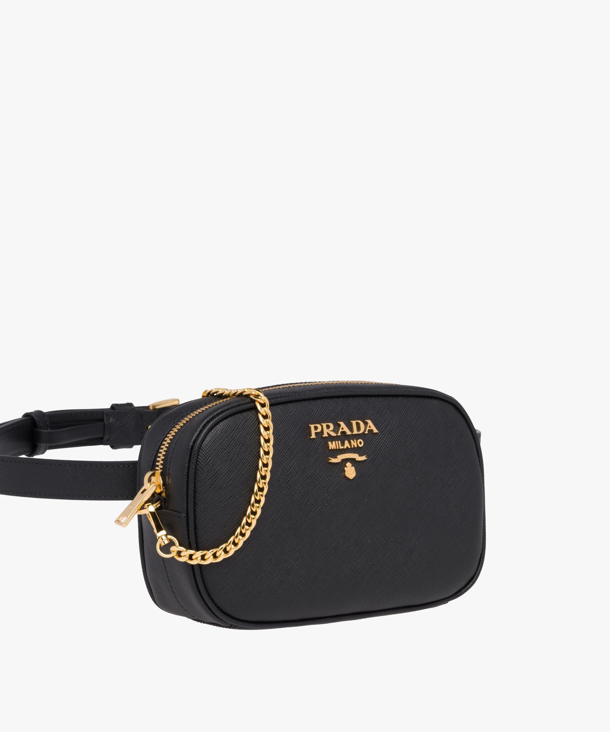 36e61b75c28fbf Prada Saffiano Leather Belt Bag in Black - Lyst