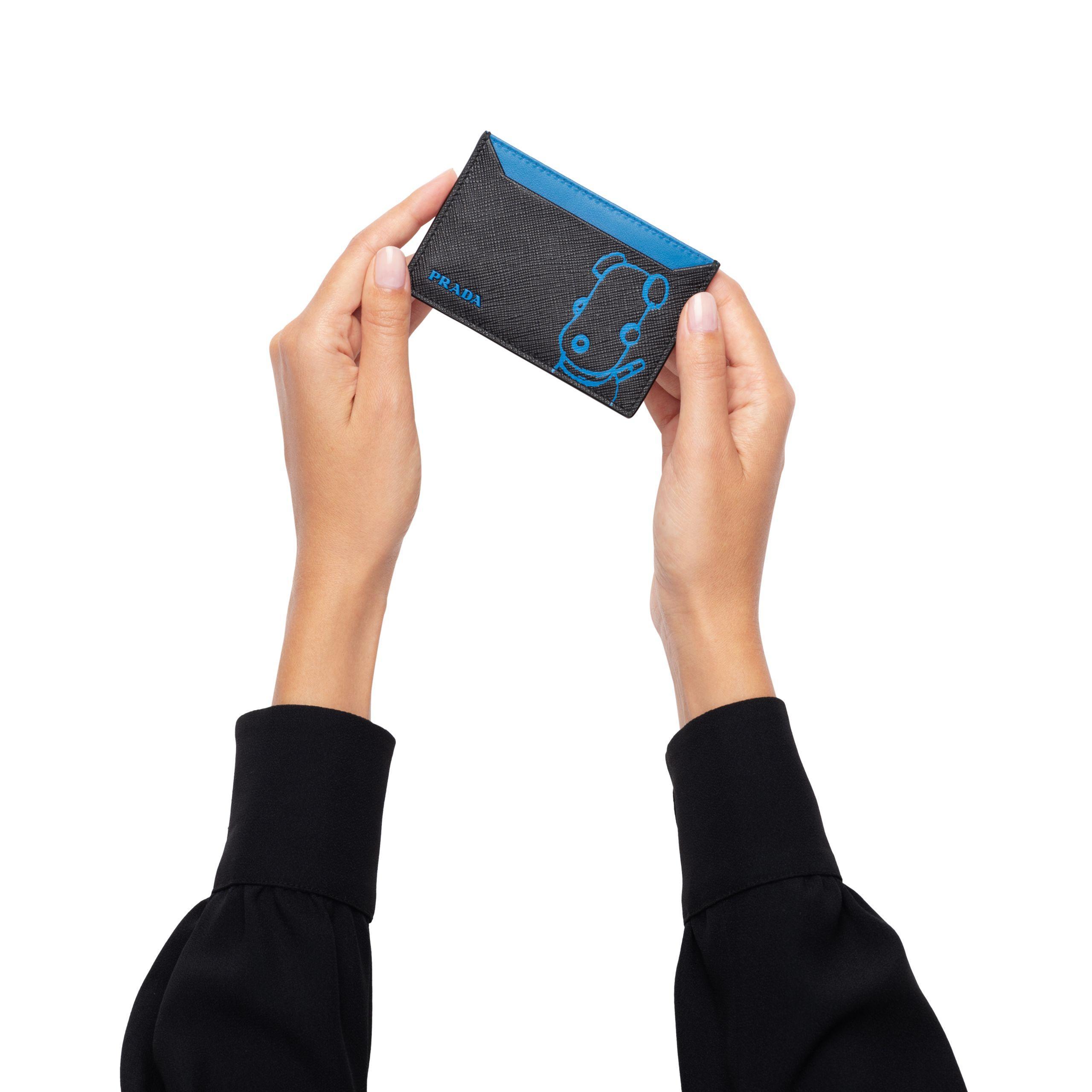 4deeebb43b88 Prada - Blue Malia Saffiano Leather Card Holder - Lyst. View fullscreen