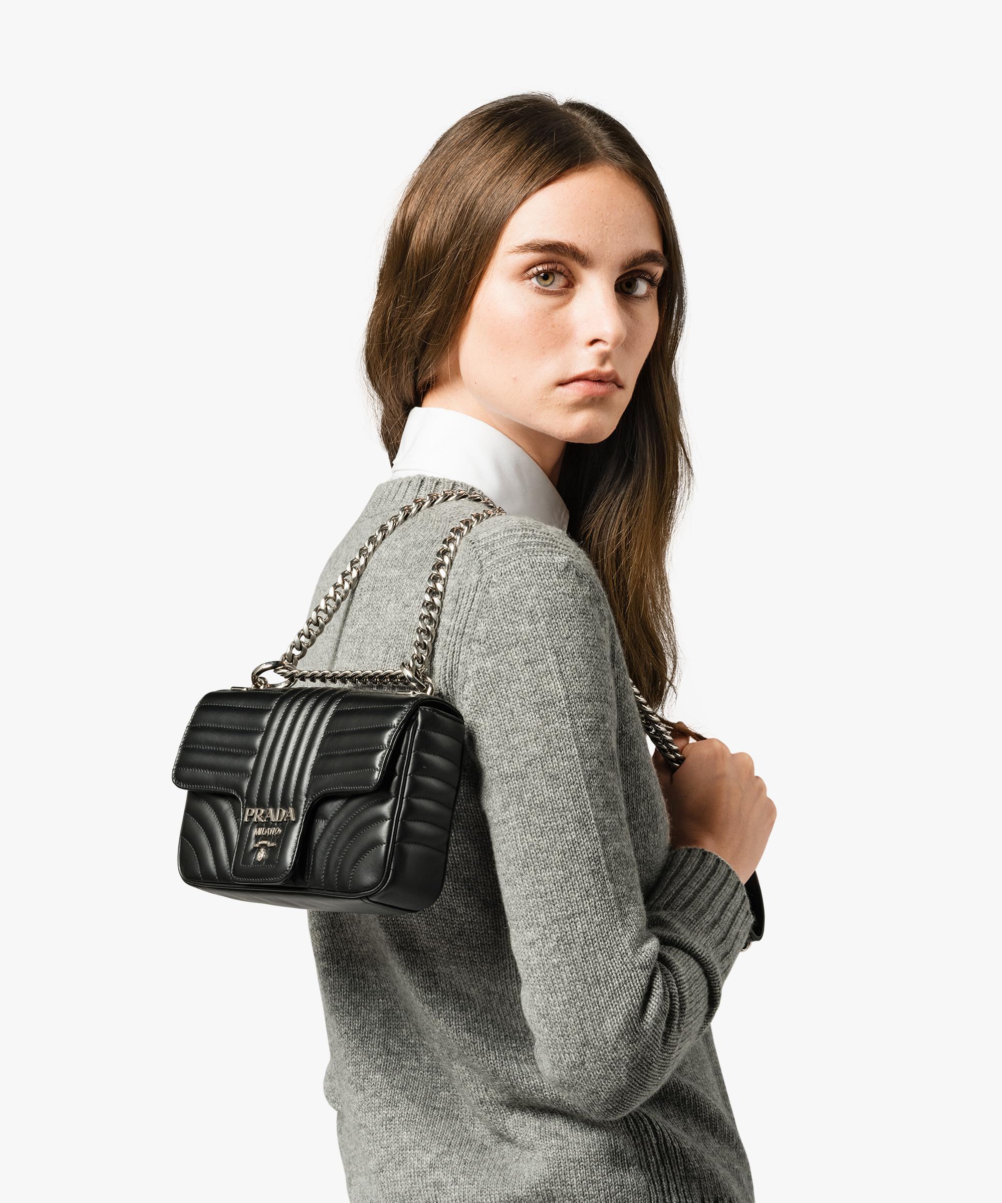 b1942fe884d80e Prada Diagramme Leather Shoulder Bag in Black - Lyst