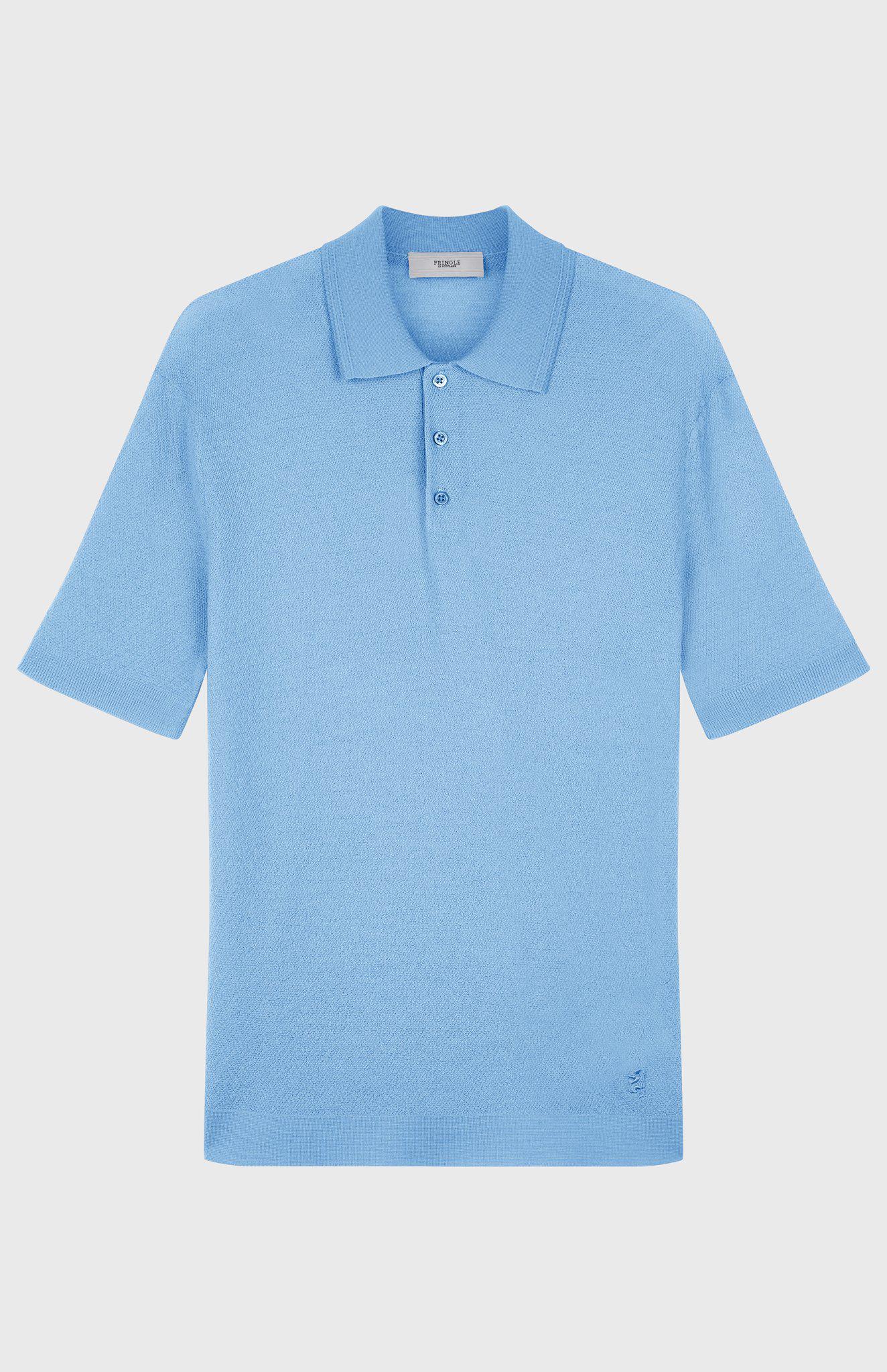 0c154d59 Pringle of Scotland - Blue Merino Wool Polo Shirt In Woad for Men - Lyst.  View fullscreen