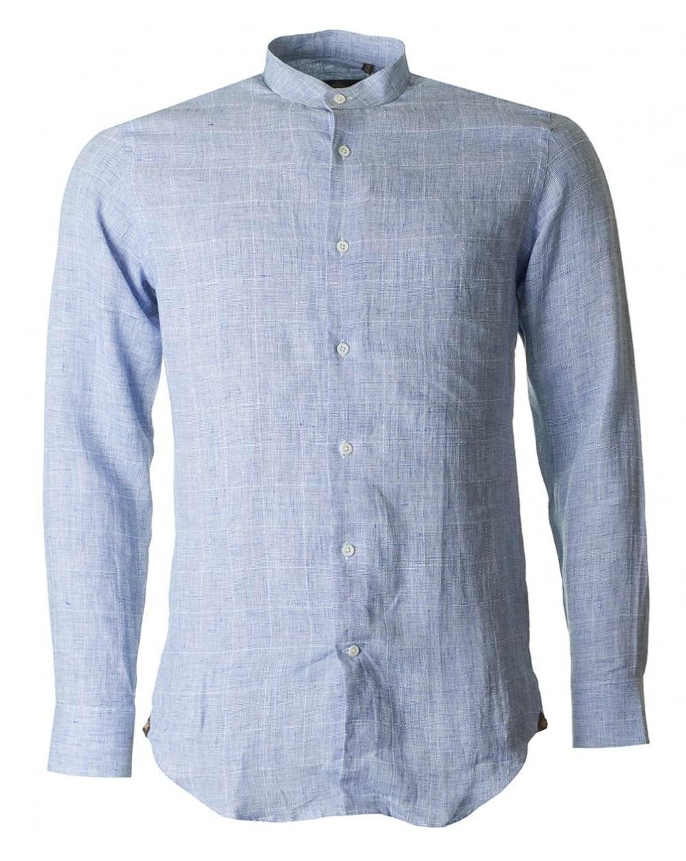 Lyst Circle Of Gentlemen Linen Overcheck Nehru Collar Shirt In