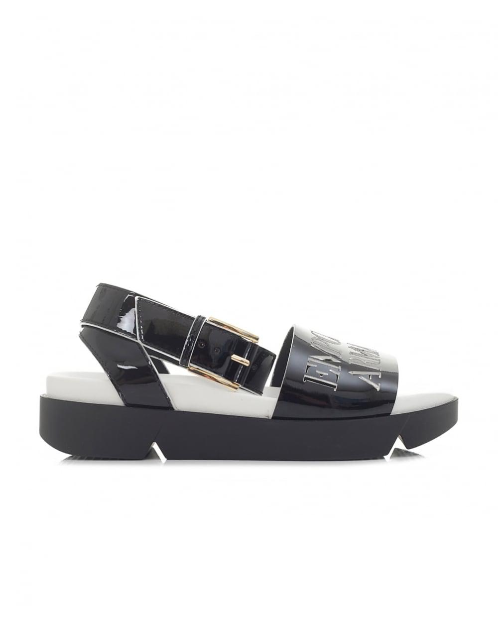 Emporio Armani Cut Out Logo Wedge Sandals in Black - Lyst 182df441e96