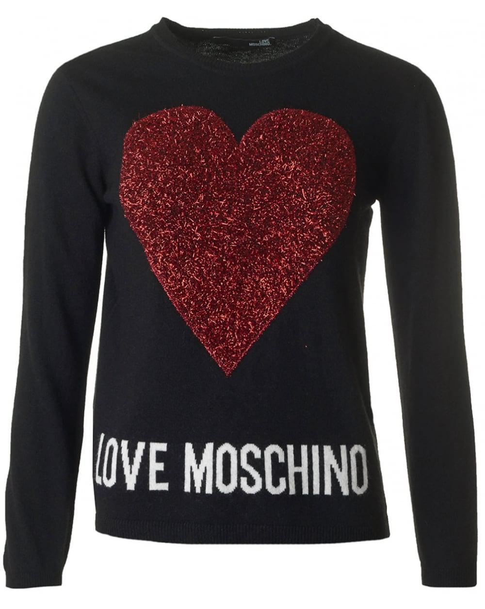 lyst love moschino loveheart knit in black. Black Bedroom Furniture Sets. Home Design Ideas
