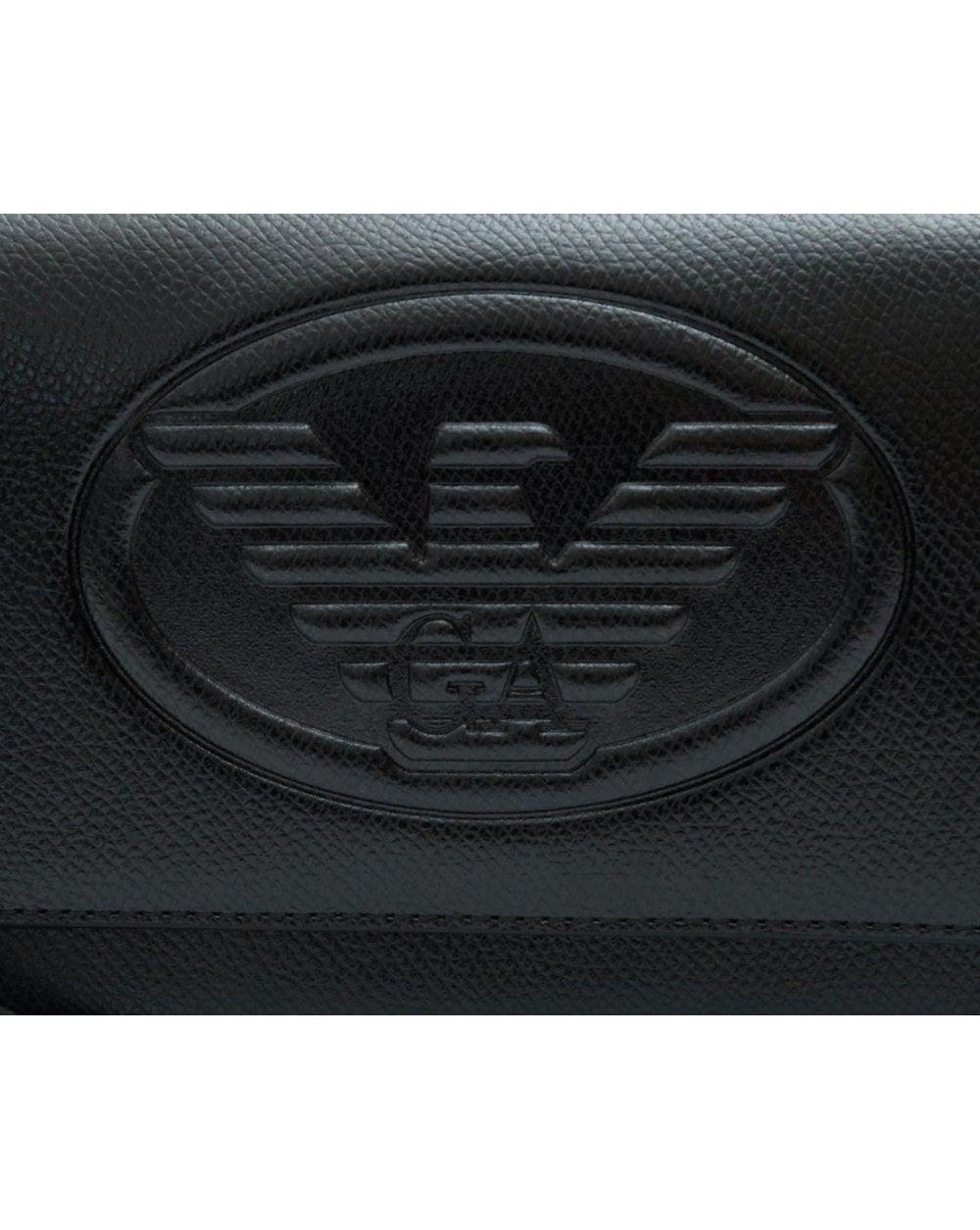 2da46ad4ff Lyst - Emporio Armani Eagle Logo Cross Body Bag in Black