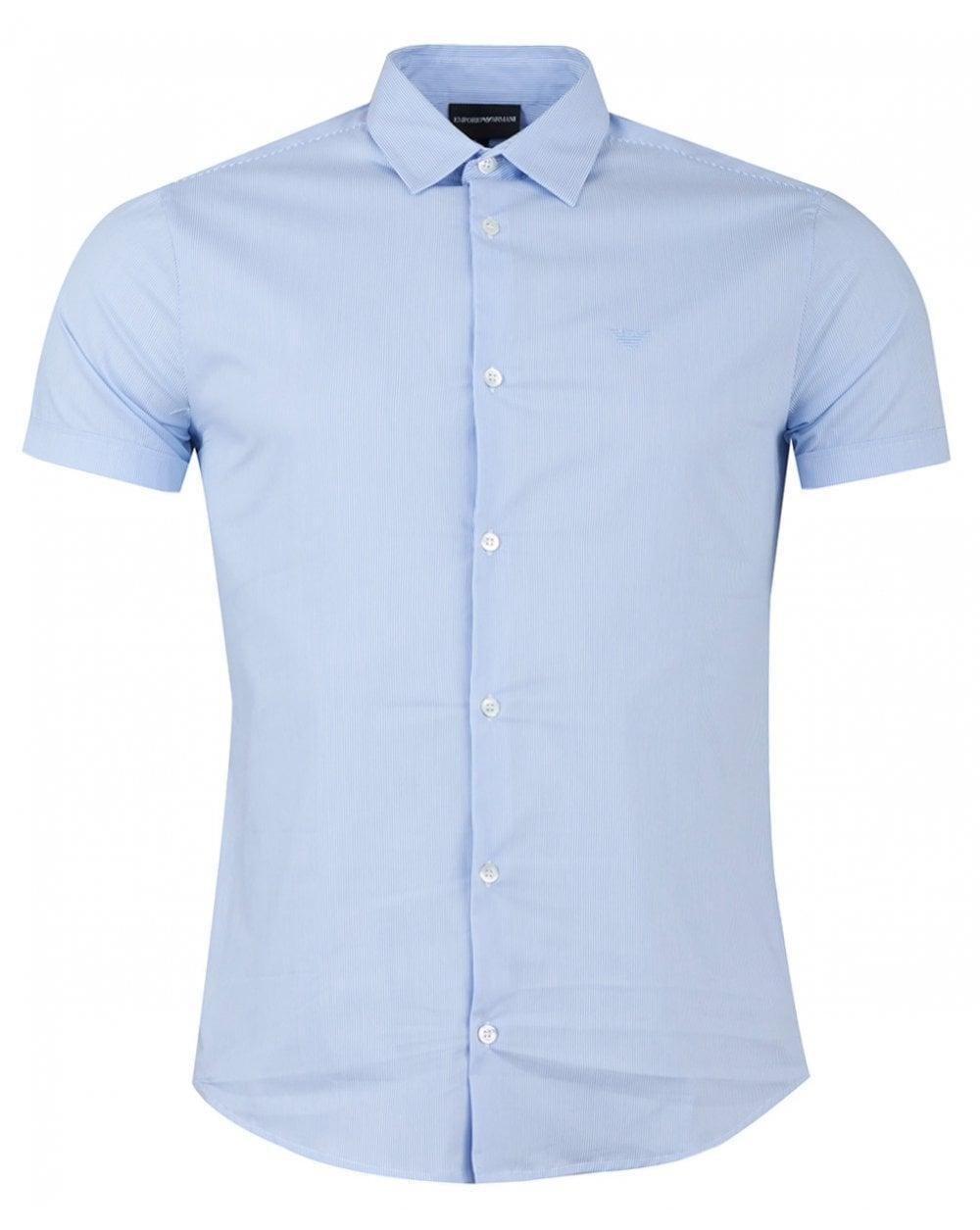 8948cc2d Lyst - Armani Short Sleeved Cotton Poplin Stripe Shirt in Blue for Men