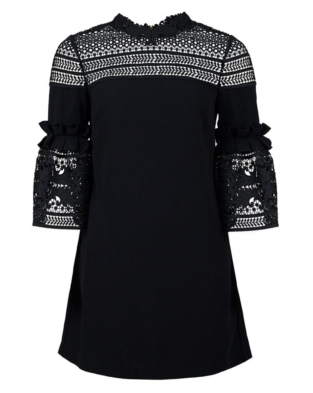 fd9120812 Lyst - Ted Baker Lucila Lace Panel Bell Sleeved Dress in Black