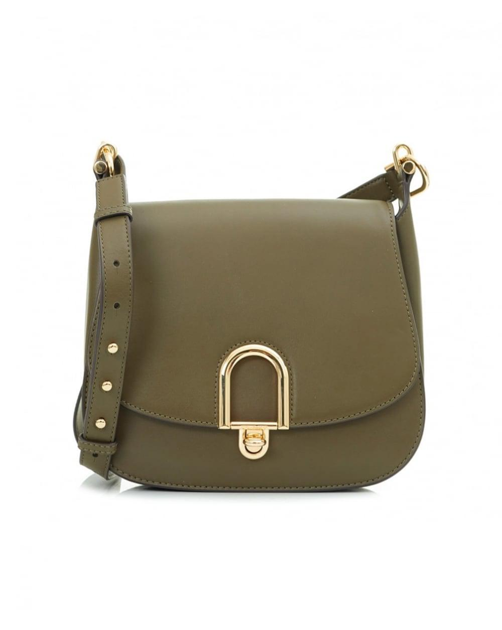 88a4cf7c4cac Michael Kors Delfina Large Leather Saddle Bag in Green - Lyst