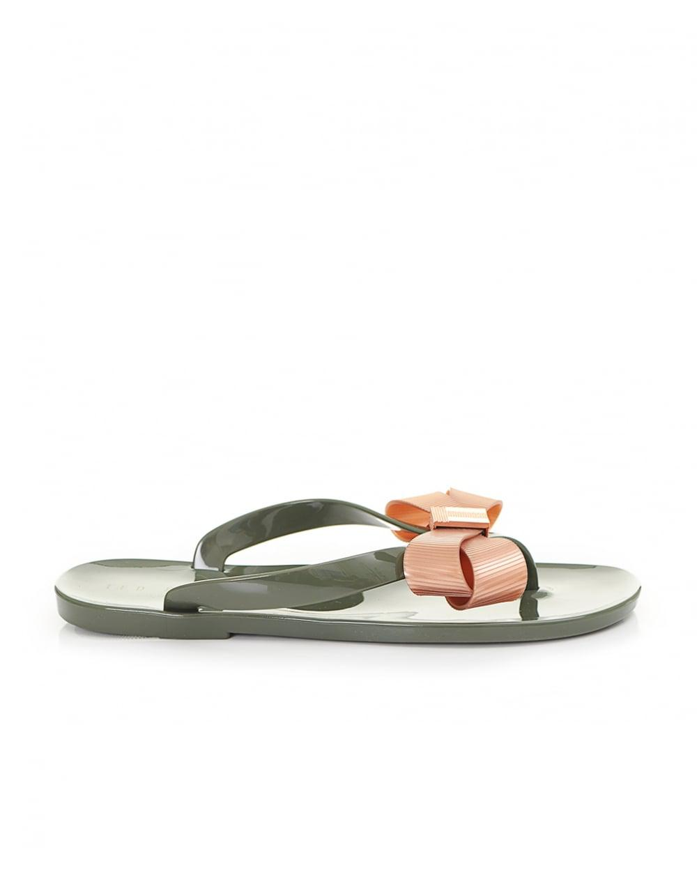 79b2d26d37e9f Ted Baker Bow Front Jelly Flip Flops in Green - Lyst