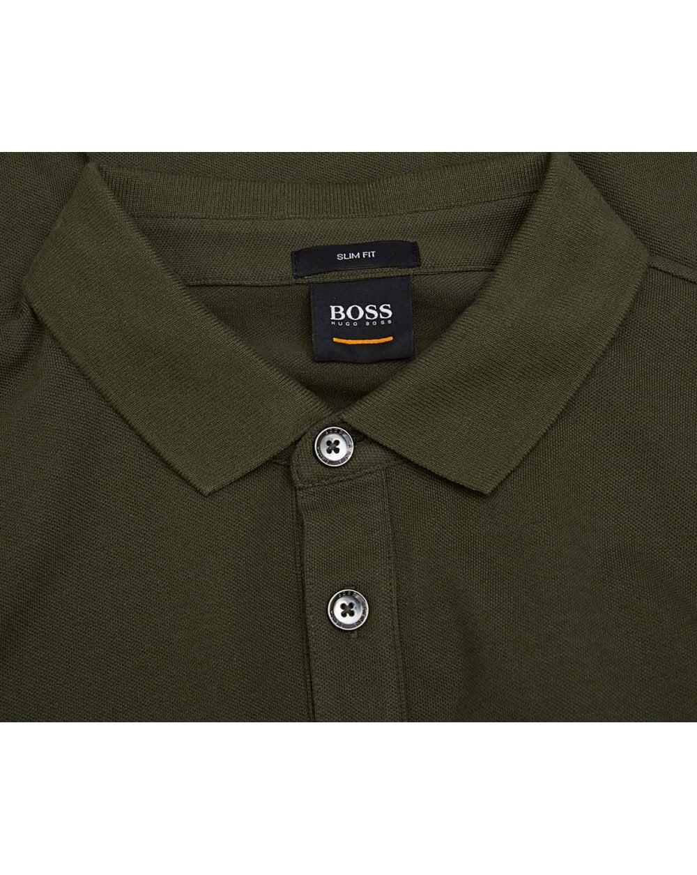 d42af08e BOSS by Hugo Boss Passerby Logo Pique Long Sleeved Polo in Green for ...