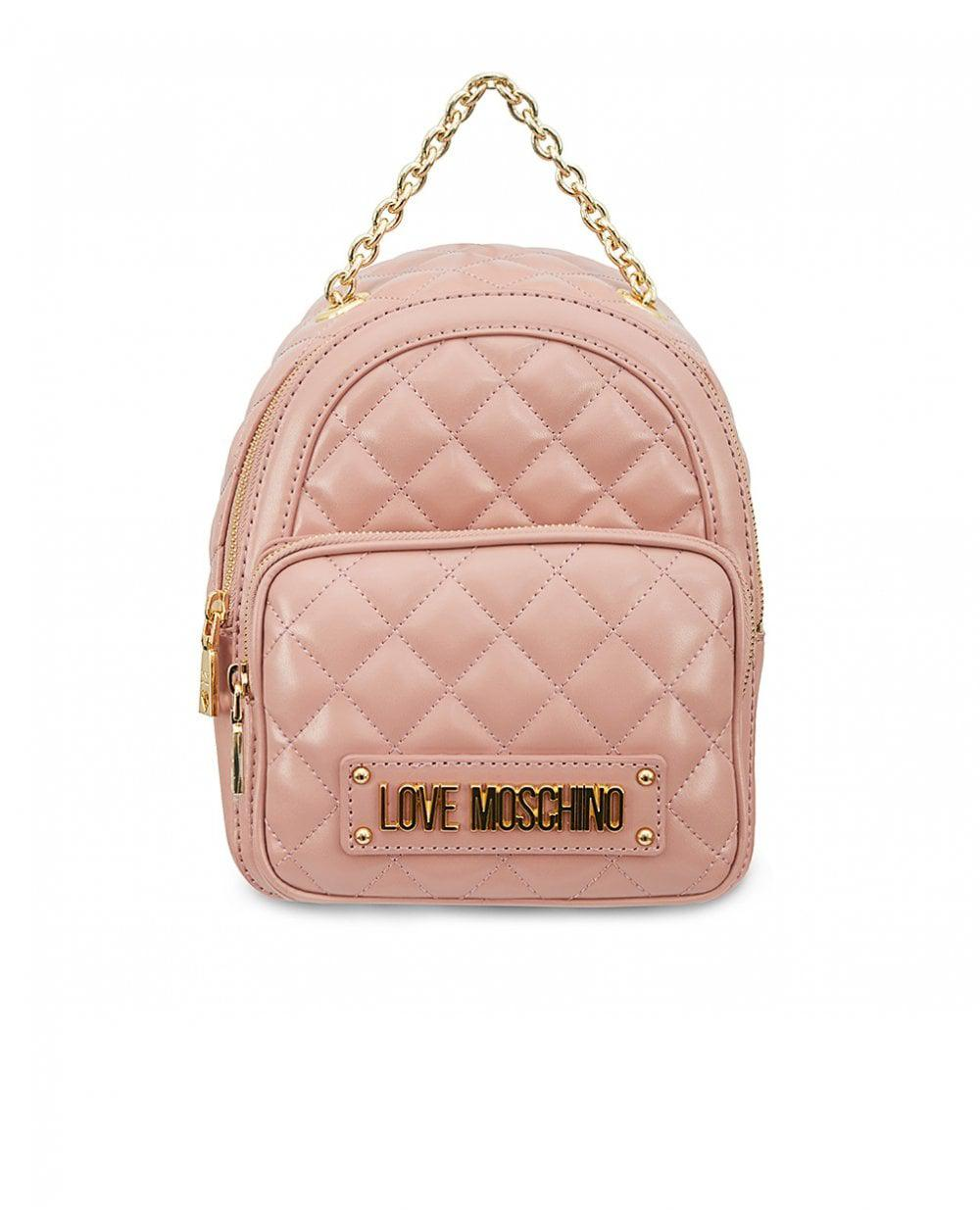 f4f87dc72c66 Moschino - Pink Quilted Chain Detail Backpack - Lyst. View fullscreen