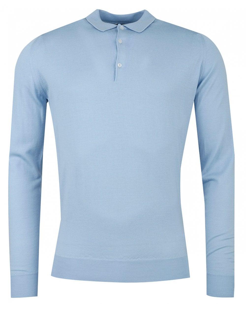 8e28fb03 John Smedley Belpe Long Sleeved Knitted Polo in Blue for Men - Lyst