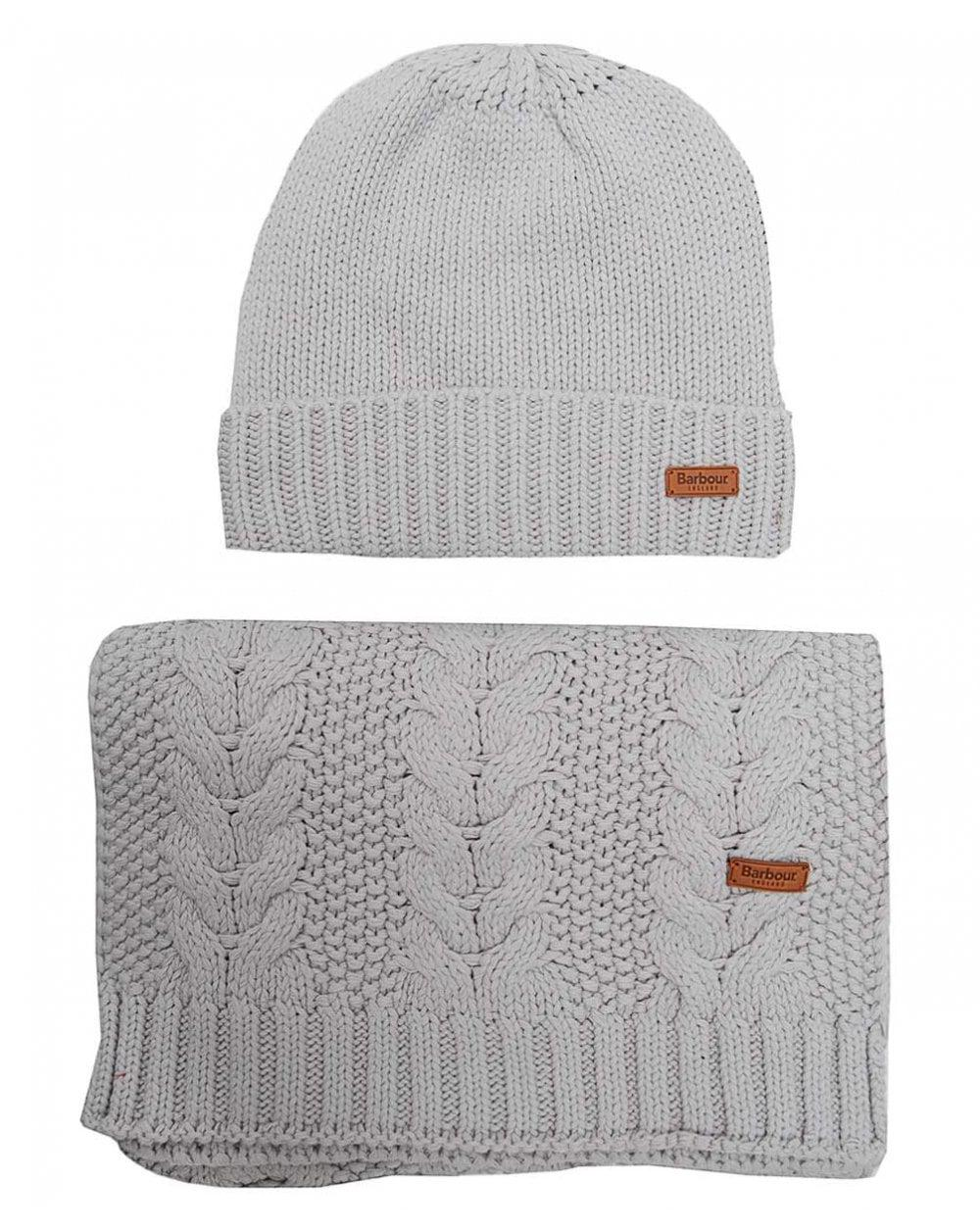 Lyst - Barbour Cable Hat And Scarf Set in Gray 2e2784d474ca