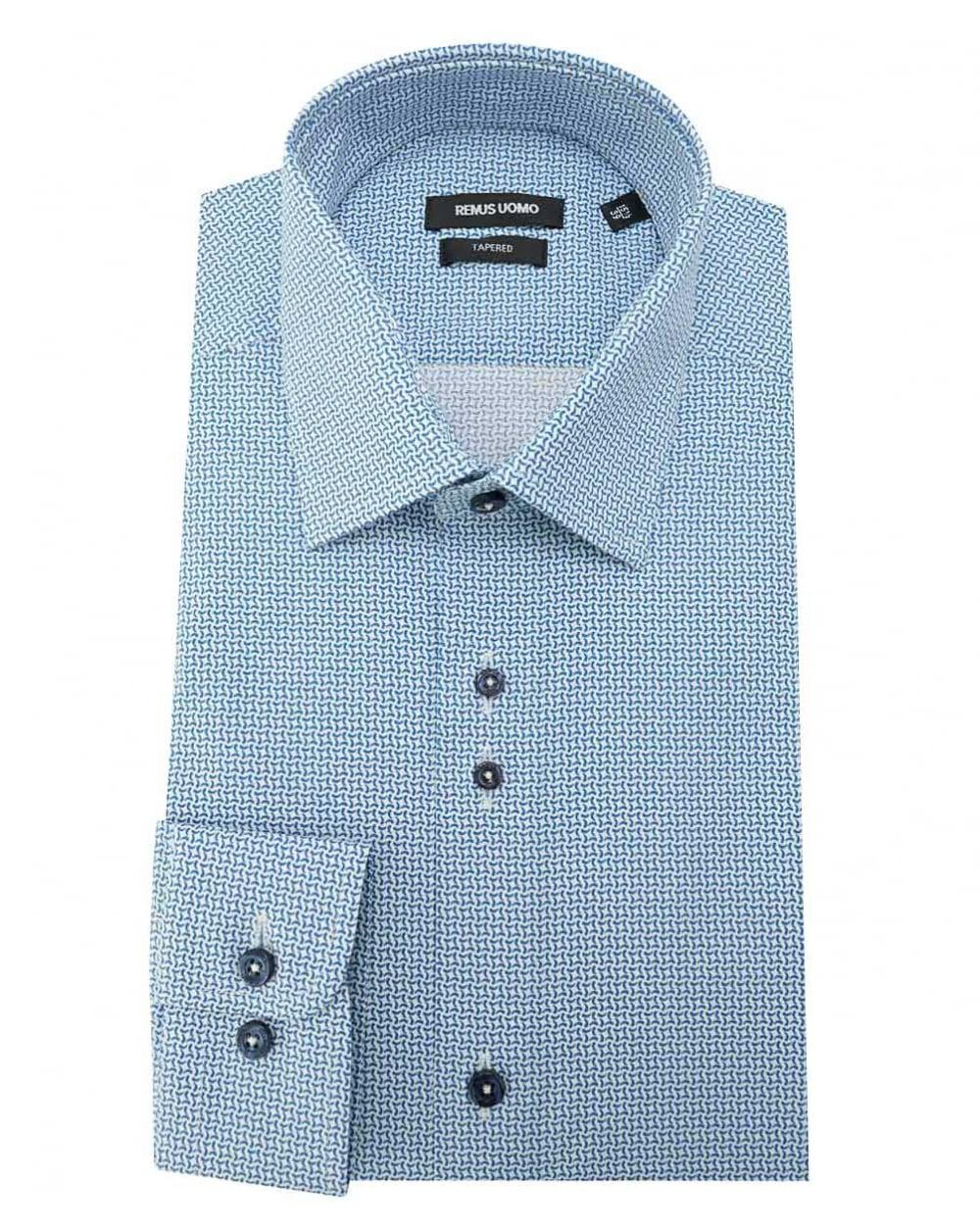 e21c33146b4b Remus Uomo Small Pattern Slim Fit Shirt in Blue for Men - Lyst