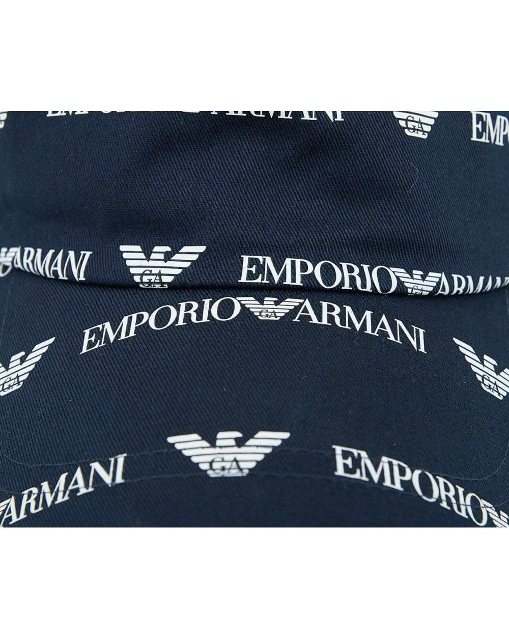 a763594878ae3 Armani Jeans All Over Script Logo Cap in Blue for Men - Lyst