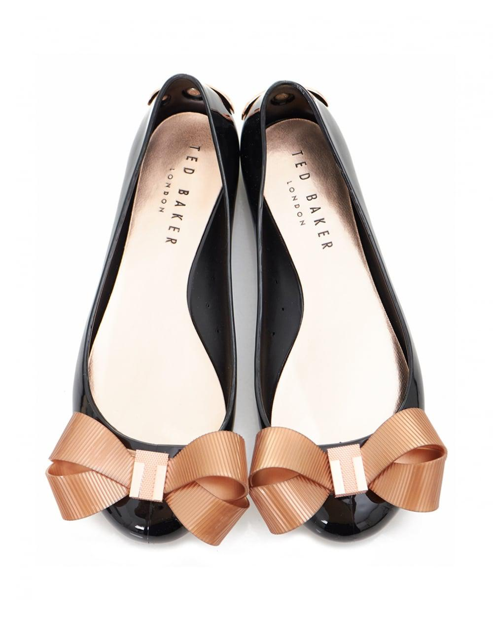 8cfde5a0ba26 Lyst - Ted Baker Bow Front Jelly Pumps in Black