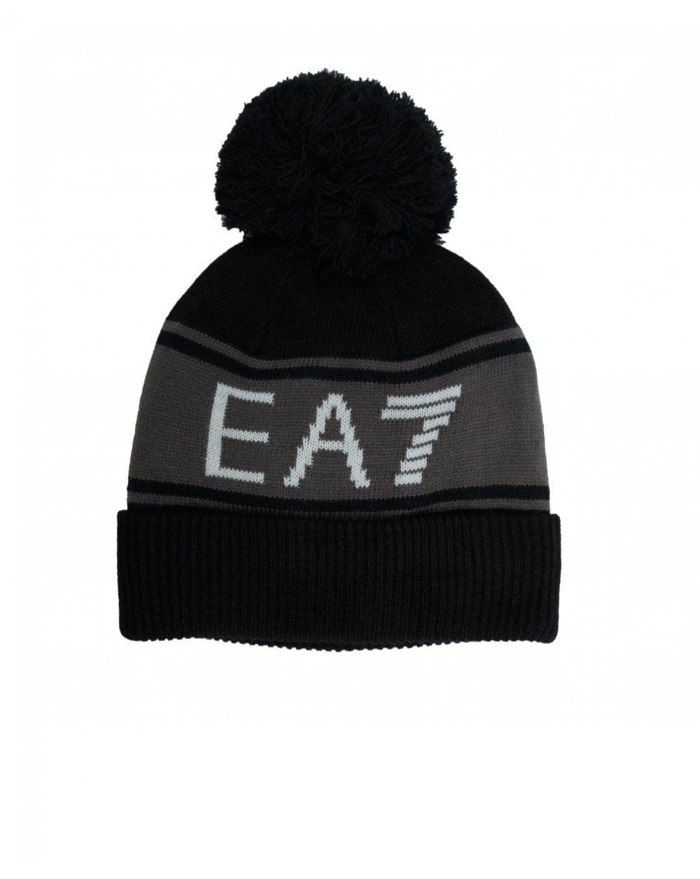 6049389da EA7 - Black Train Visibility Bobble Beanie Hat for Men - Lyst. View  fullscreen