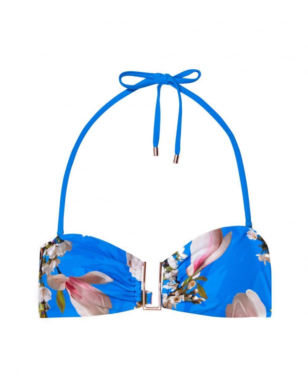 4567a914e167 Lyst - Ted Baker Harmony Print U Trim Bikini Top in Blue