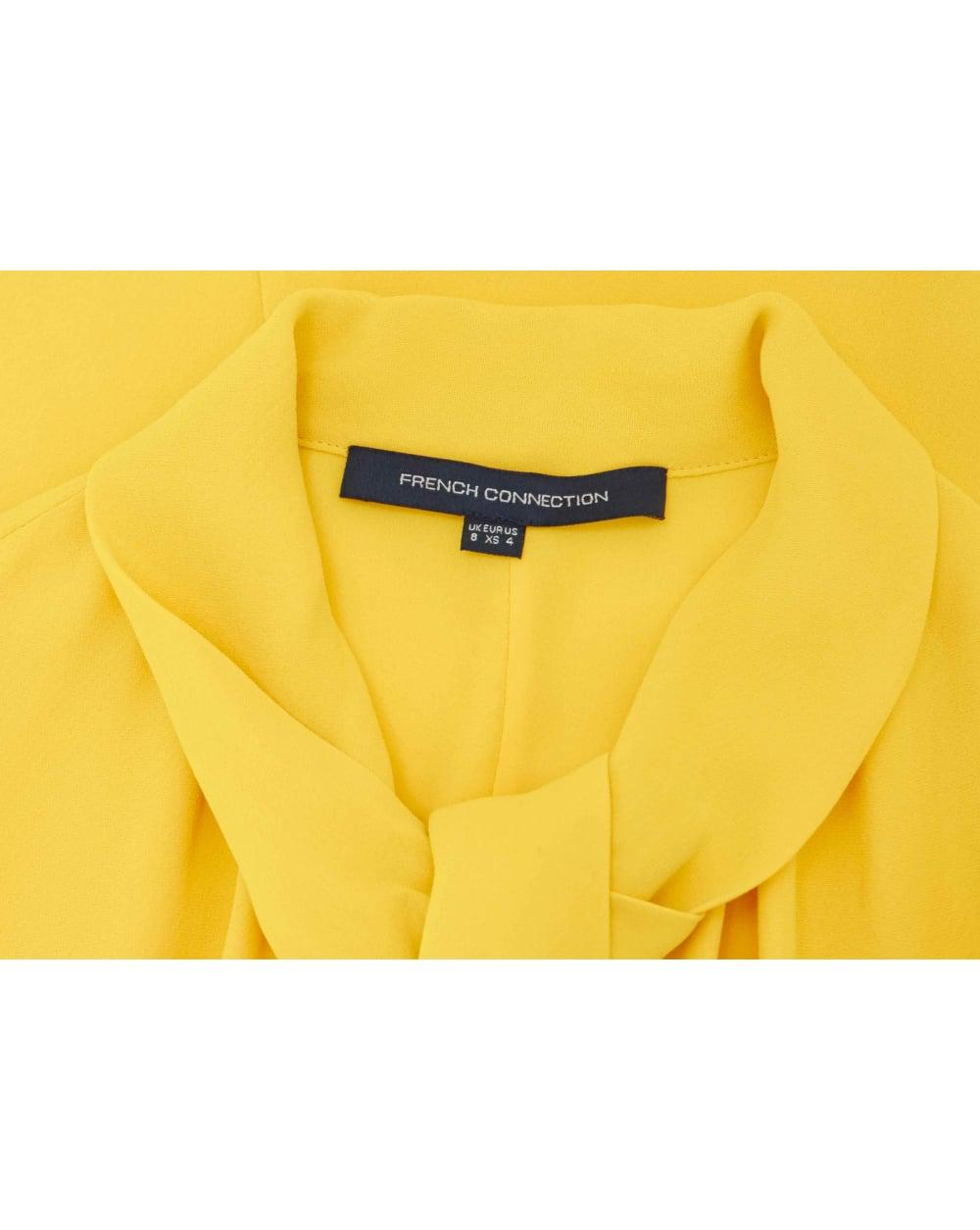 e6f78e58f40 French Connection Arimi Crepe Tie Neck Shirt Dress in Yellow - Lyst