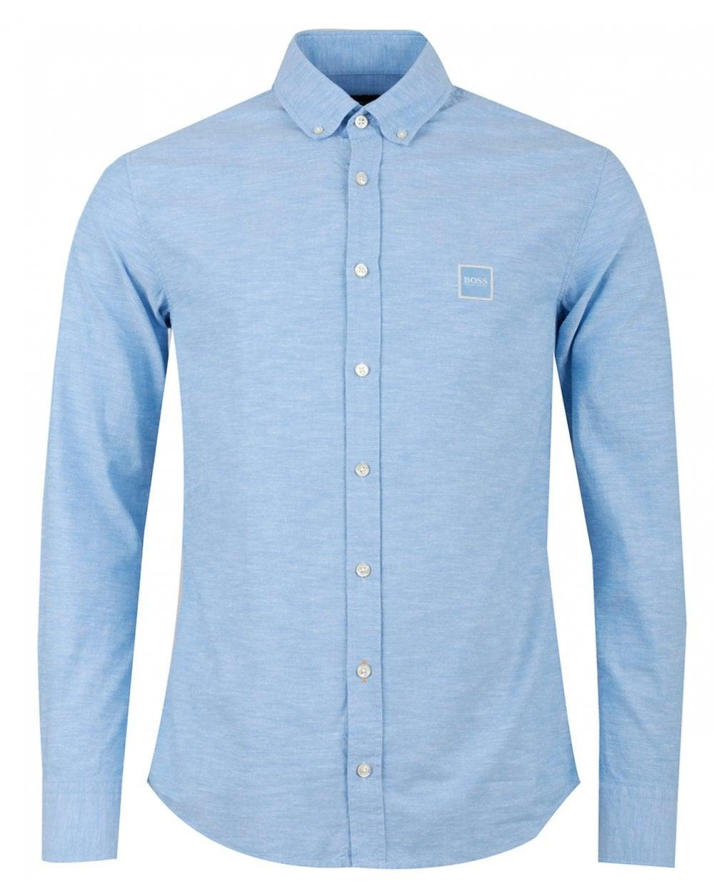 21d2834fd BOSS - Blue Casual Mabsoot Slim Fit Oxford Logo Shirt for Men - Lyst. View  fullscreen