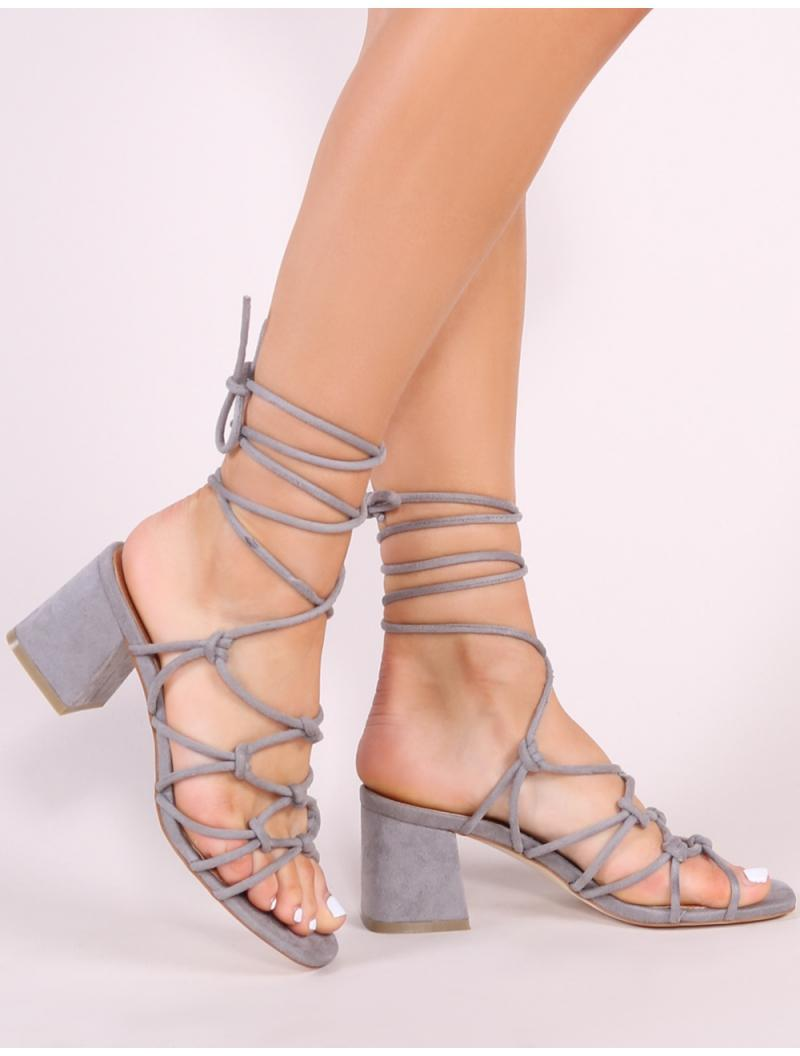 6b4a41d8fe944c Public Desire. Women s Gray Freya Knotted Strappy Block Heeled Sandals ...