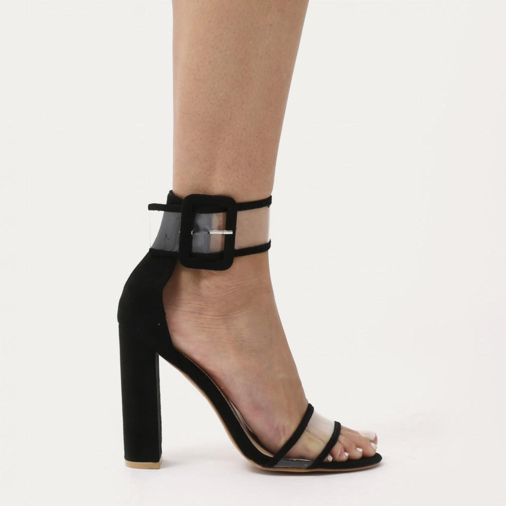 2fe4d6207a5 Lyst - Public Desire Mission Perspex Strap Buckled Block High Heels ...