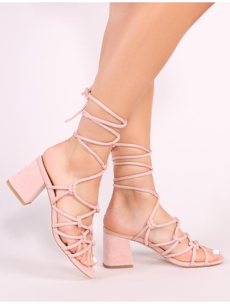 d37e0e056da Public Desire. Women s Blue Freya Knotted Strappy Block Heeled Sandals ...
