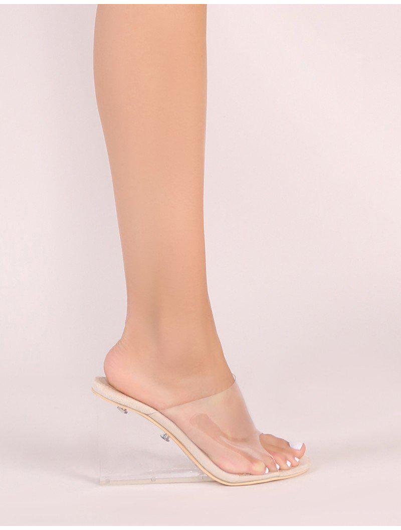 c45179a7565a Lyst - Public Desire Maliboo Clear Perspex Mule With Wedge Heel