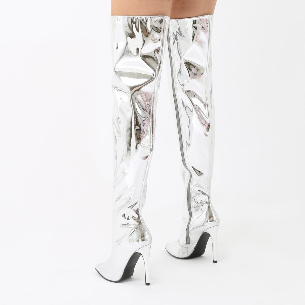e21cb63132a Lyst - Public Desire Poison Over The Knee Foil Boots In Silver ...