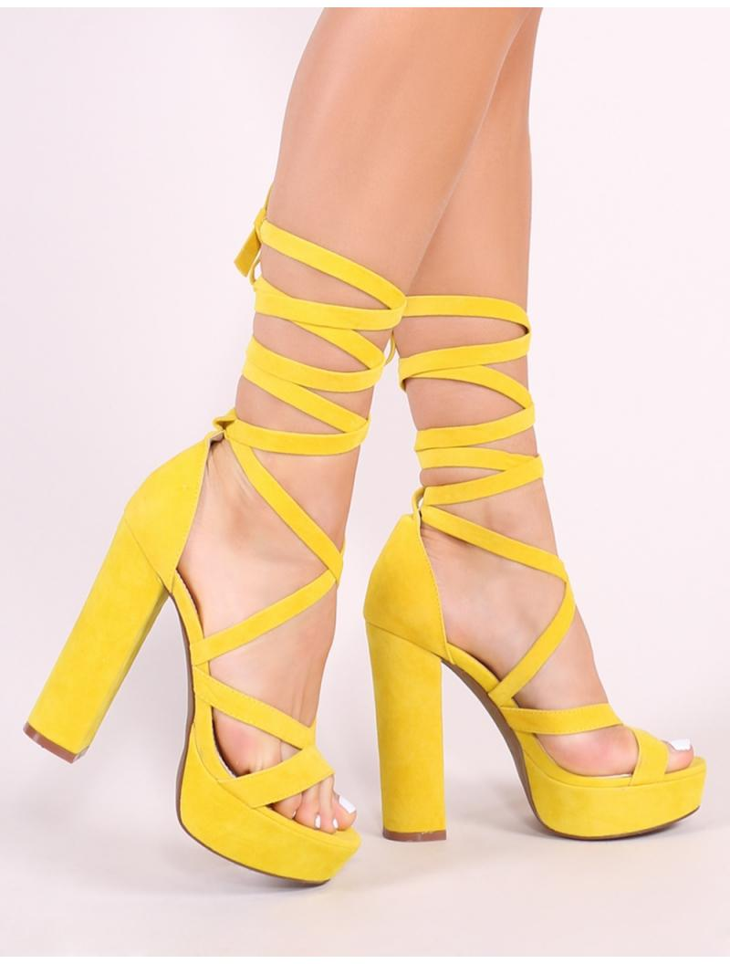 7d49f248c201 Public Desire Stella Lace Up Heels In Yellow Faux Suede in Yellow - Lyst